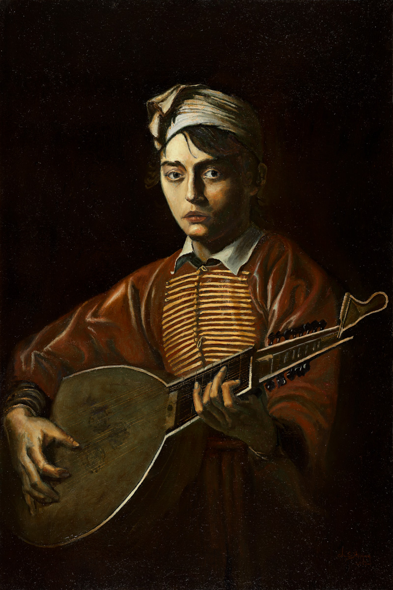 24x36 oil on birch panel. $4,500.00 Lute player