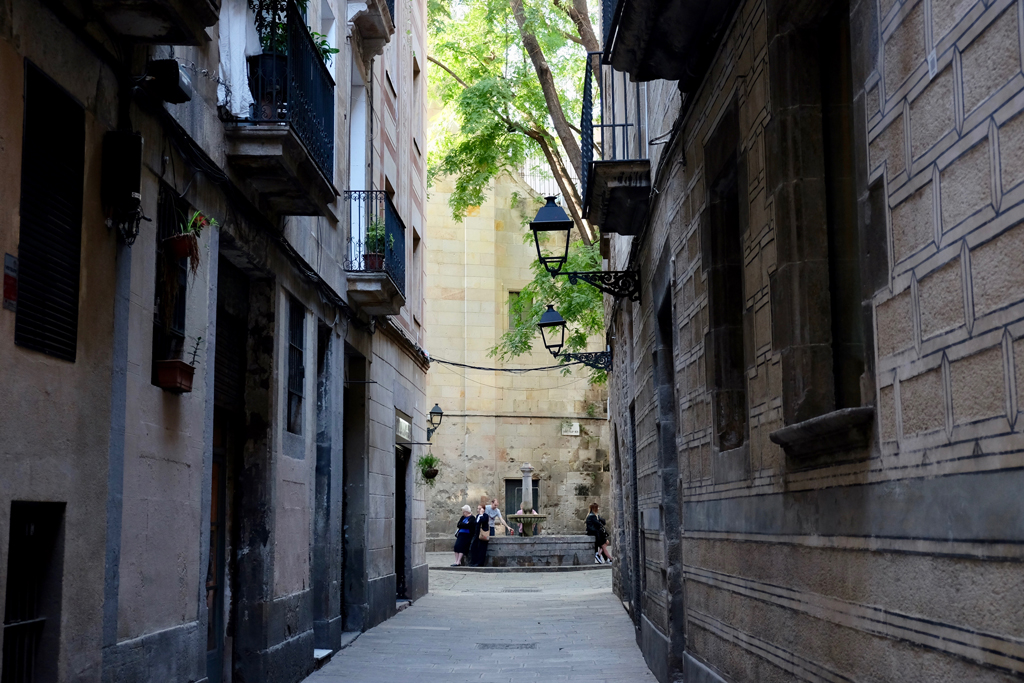 The narrow alleyways and surprise courtyards of the Gothic Quarter