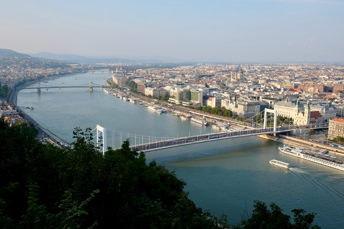 The view of Buda and Pest, separated by the Danube, from Gellért Hill.