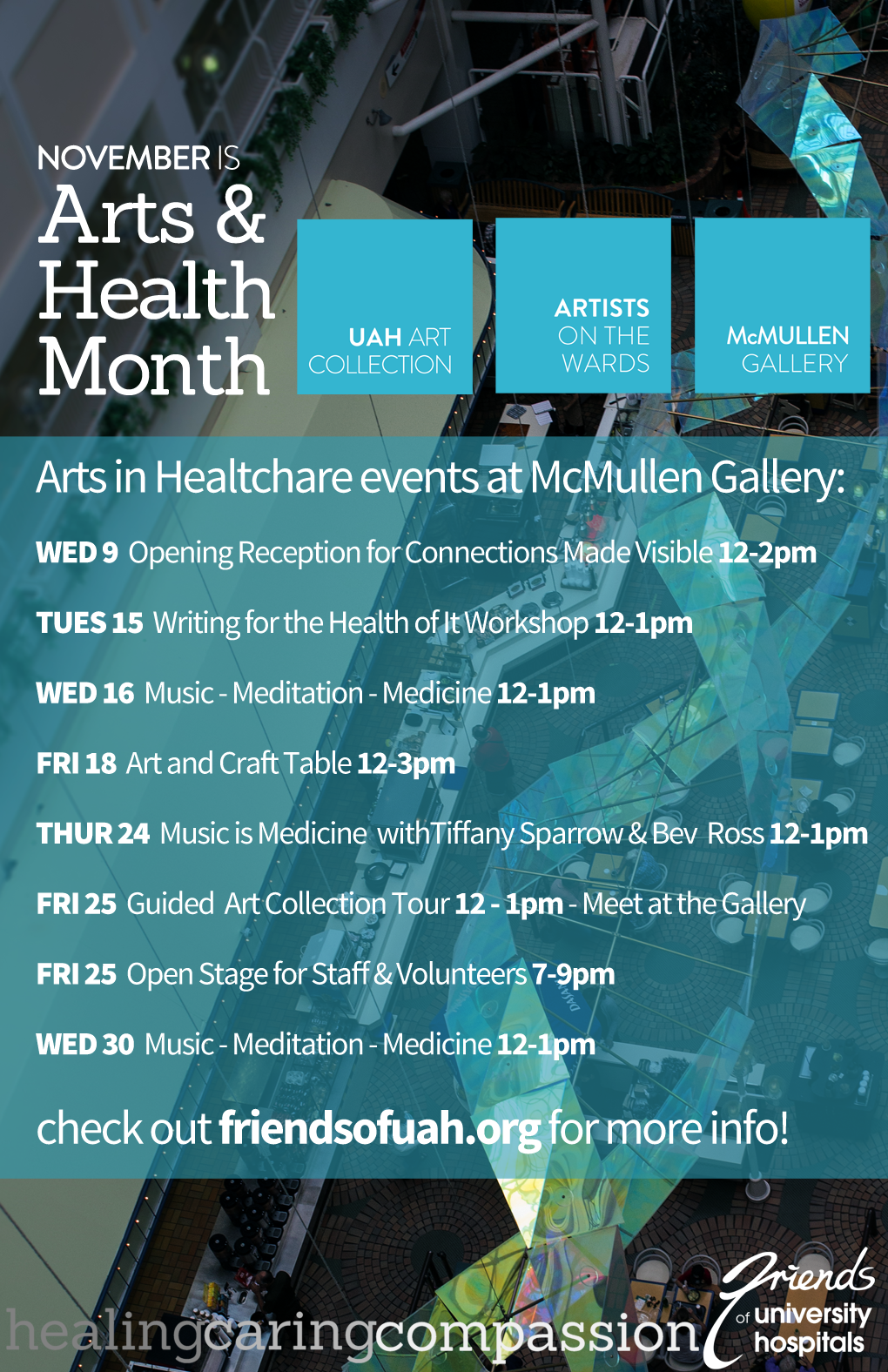 Arts Health Month, Artists on the Wards, McMullen Gallery, UAH Art Collection, U of A Hospital.