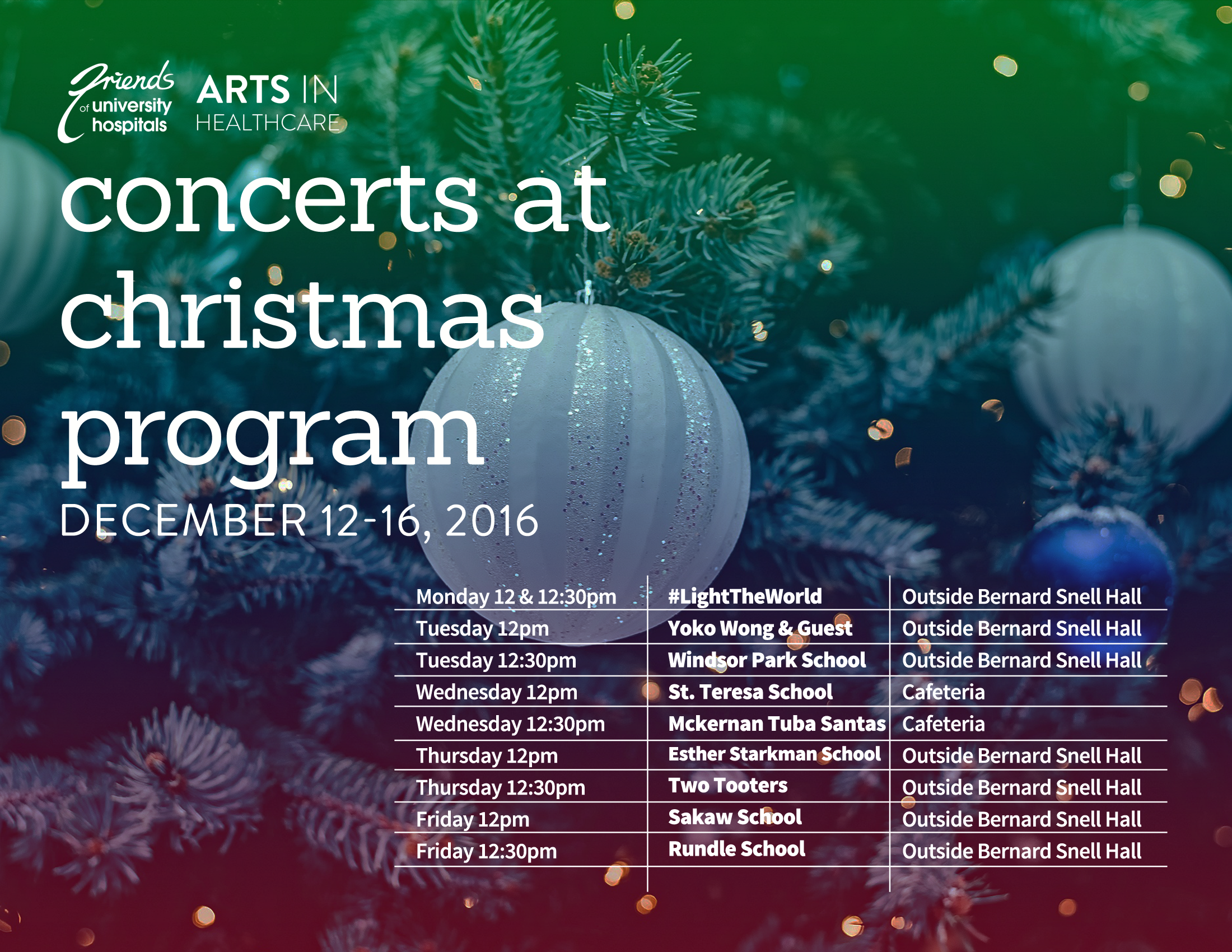 hospital, christmas choirs, Friends of University Hospitals, Arts in Healthcare