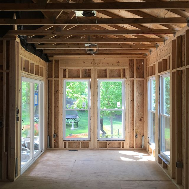 Checking out progress on a home addition in SW StL County.  We'd be looking forward to lazy summer days on that vaulted covered patio too #constructionisfun #aeshdesign