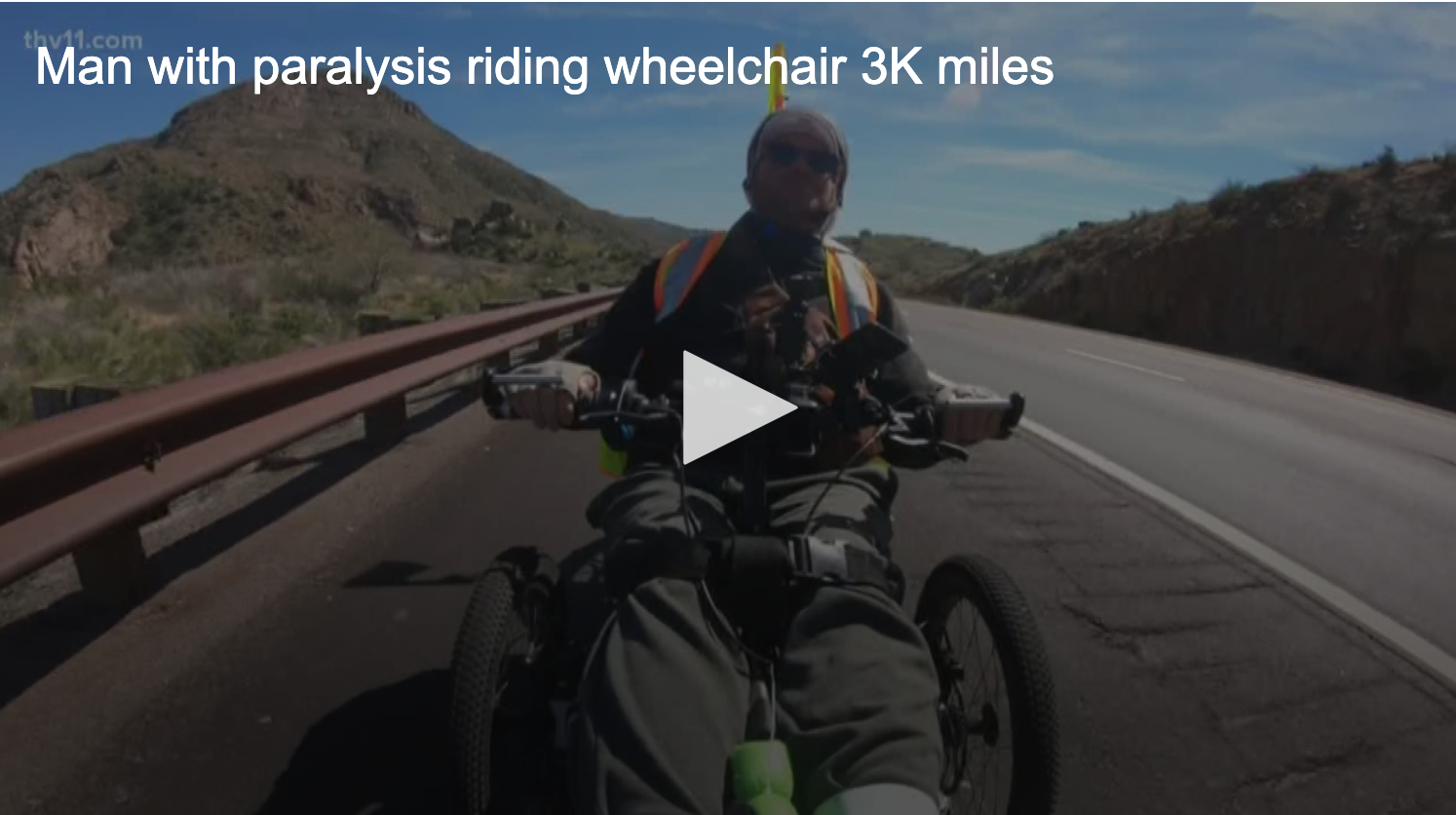 3k In Miles >> Thv11 Little Rock Man With Paralysis Riding Wheelchair 3k Miles