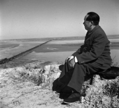 Mao Zedong looking out at the Yellow River. His belief that the party was master of nature and old ways led to millions of deaths.