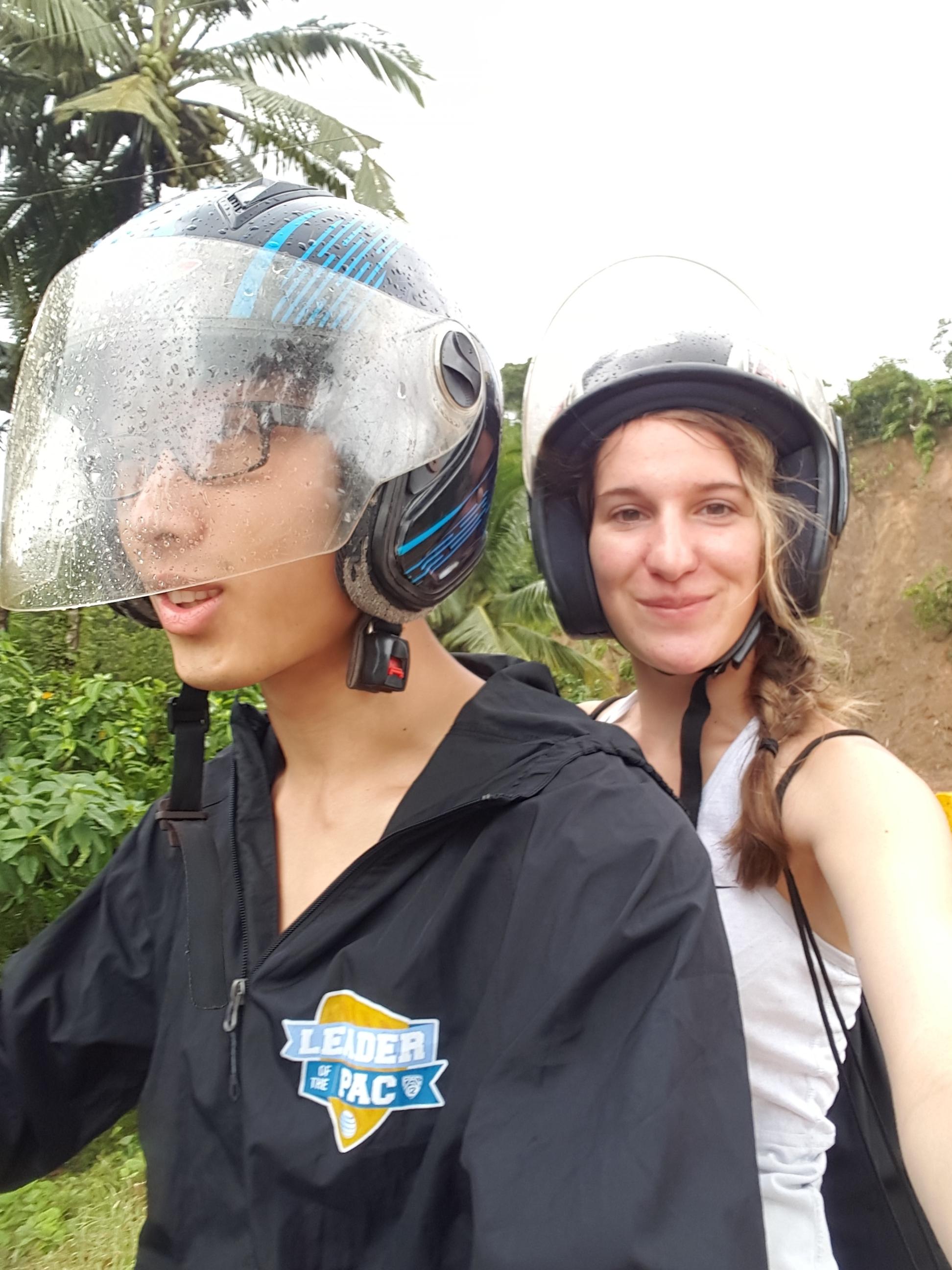 Riding scooters in El Nido