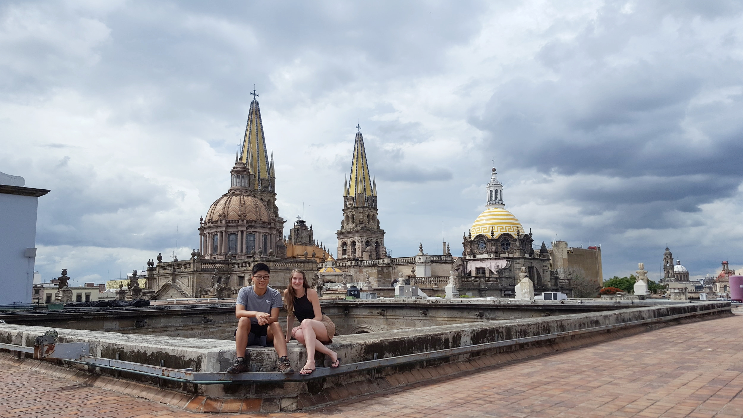 Hanging out on the roof of Palacio de Gobierno in Guadalajara