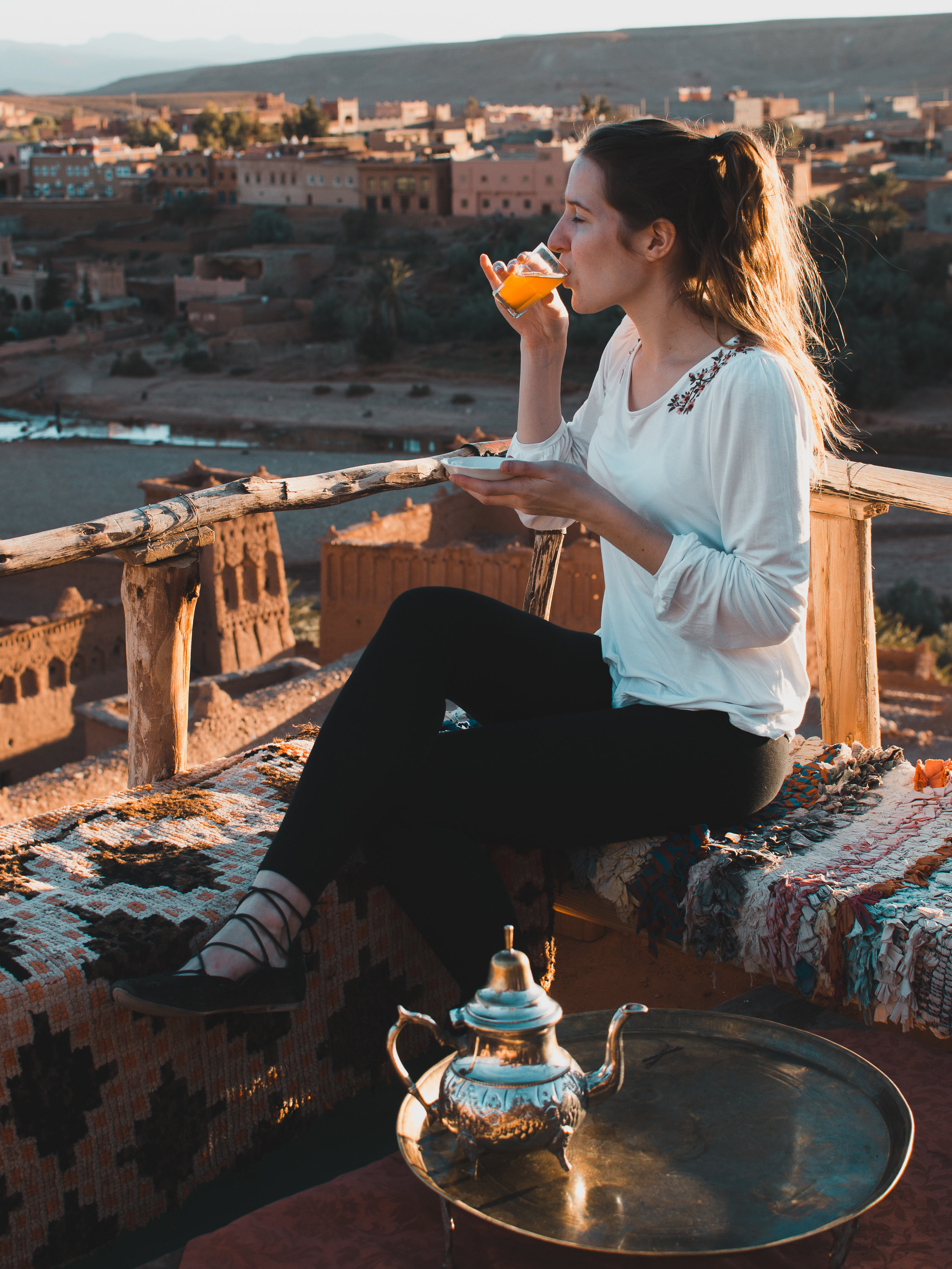 Sipping mint tea at Ait Benhaddou - one of Morocco's two filming locations from Game of Thrones