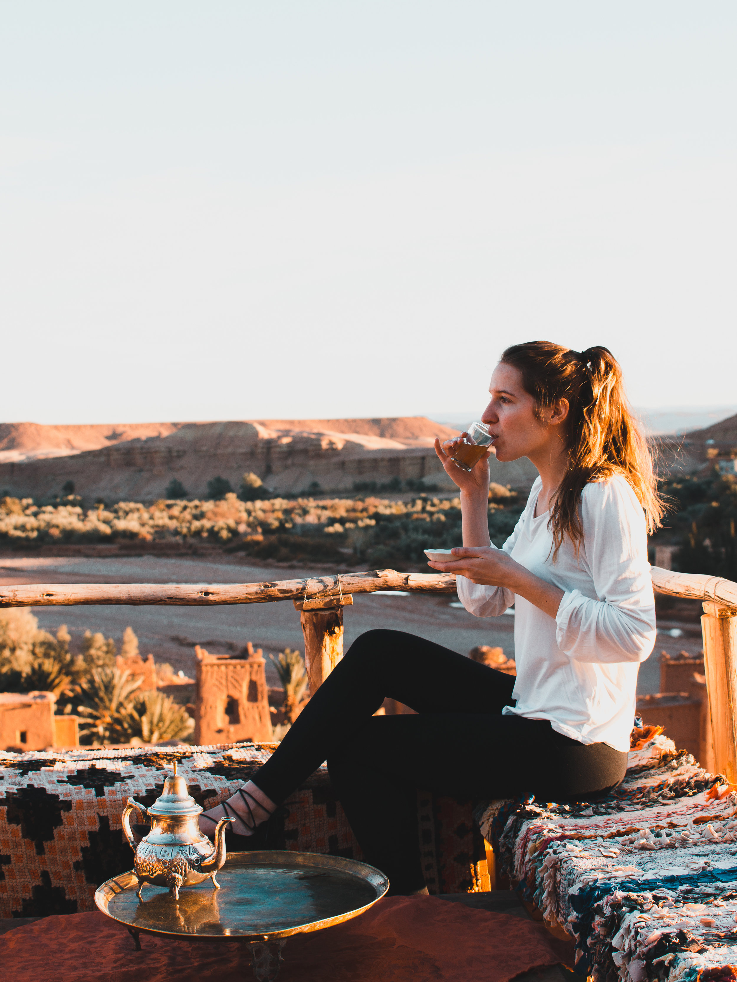Sipping mint tea on top of Ait Benhaddou in Morocco