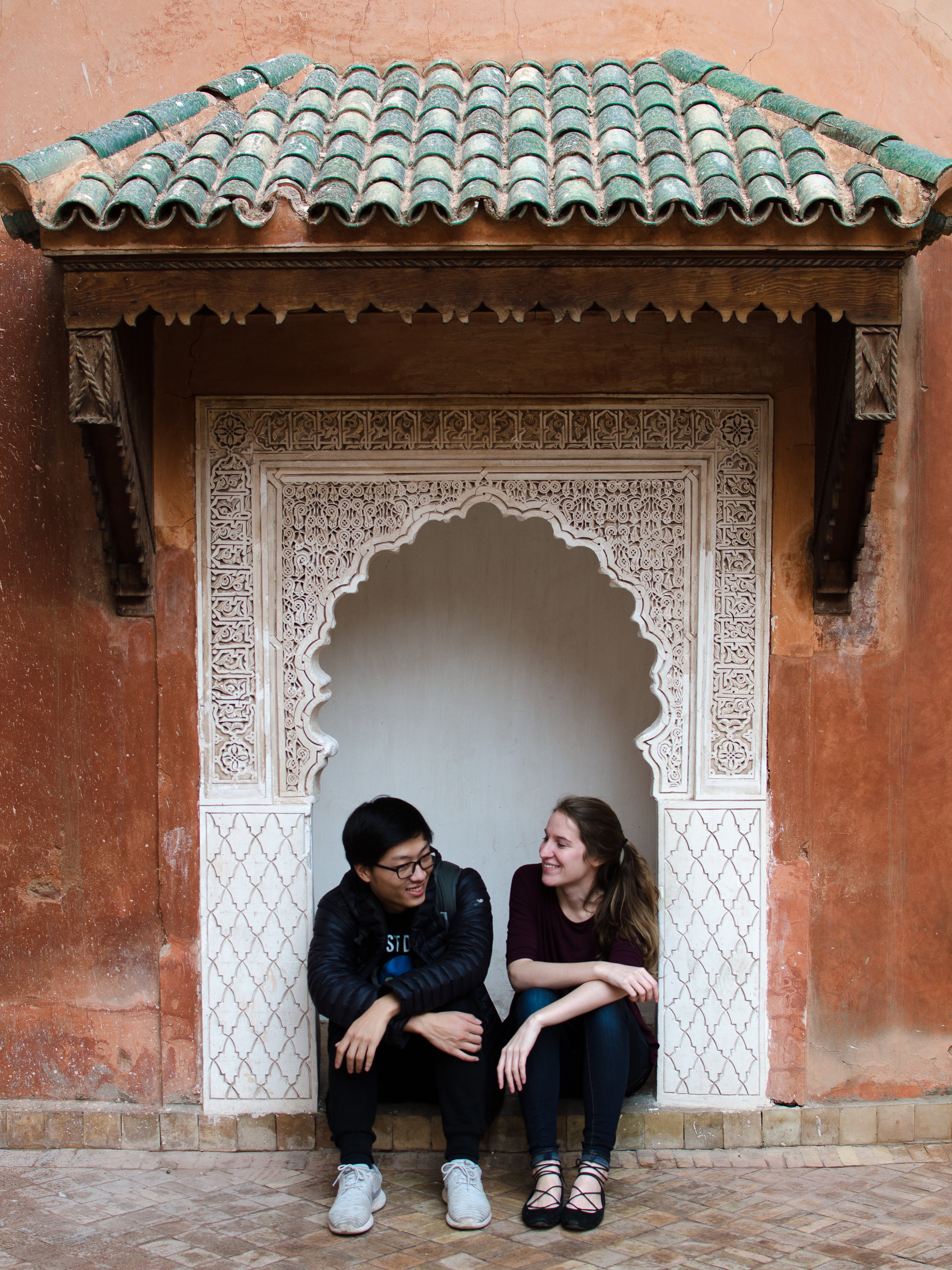 Chilling at the Saadian Tombs in Marrakech