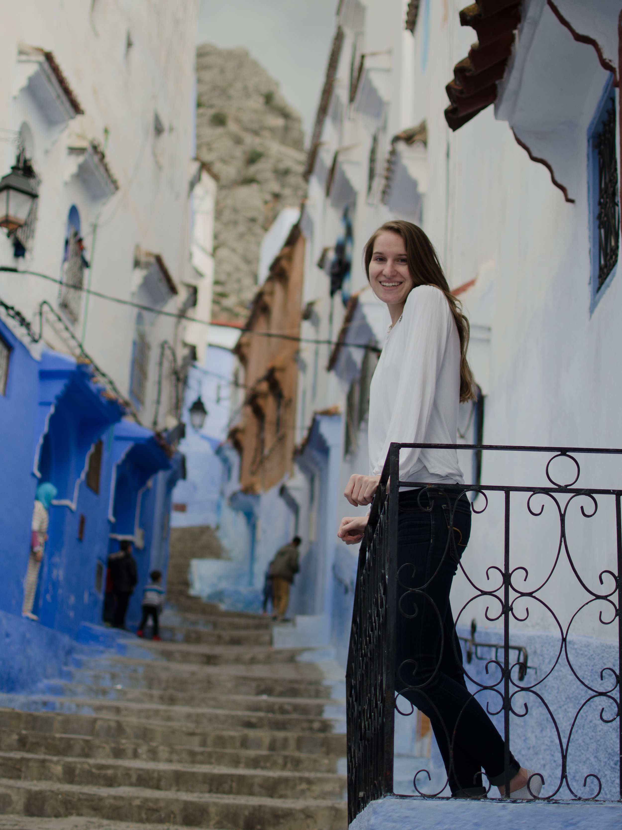 Enjoying the sun in Morocco's blue city, Chefchaouen