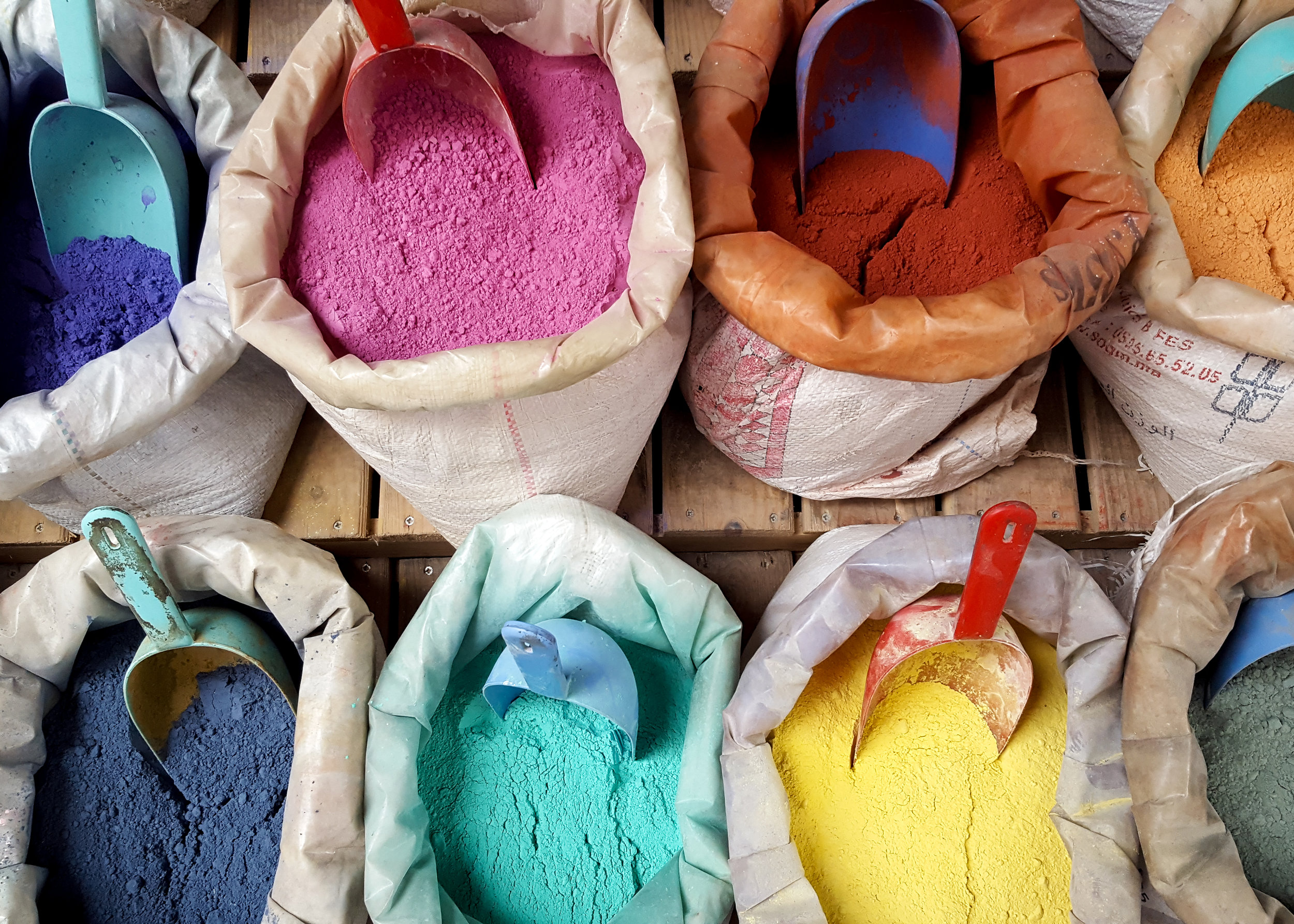 Colorful dyes line the streets in Chefchaouen