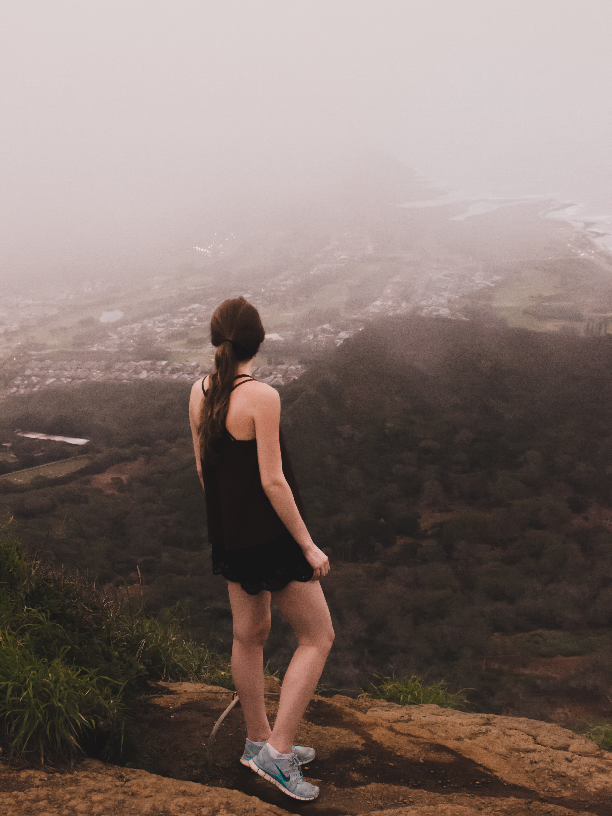 Standing at the top of Koko Crater in Oahu