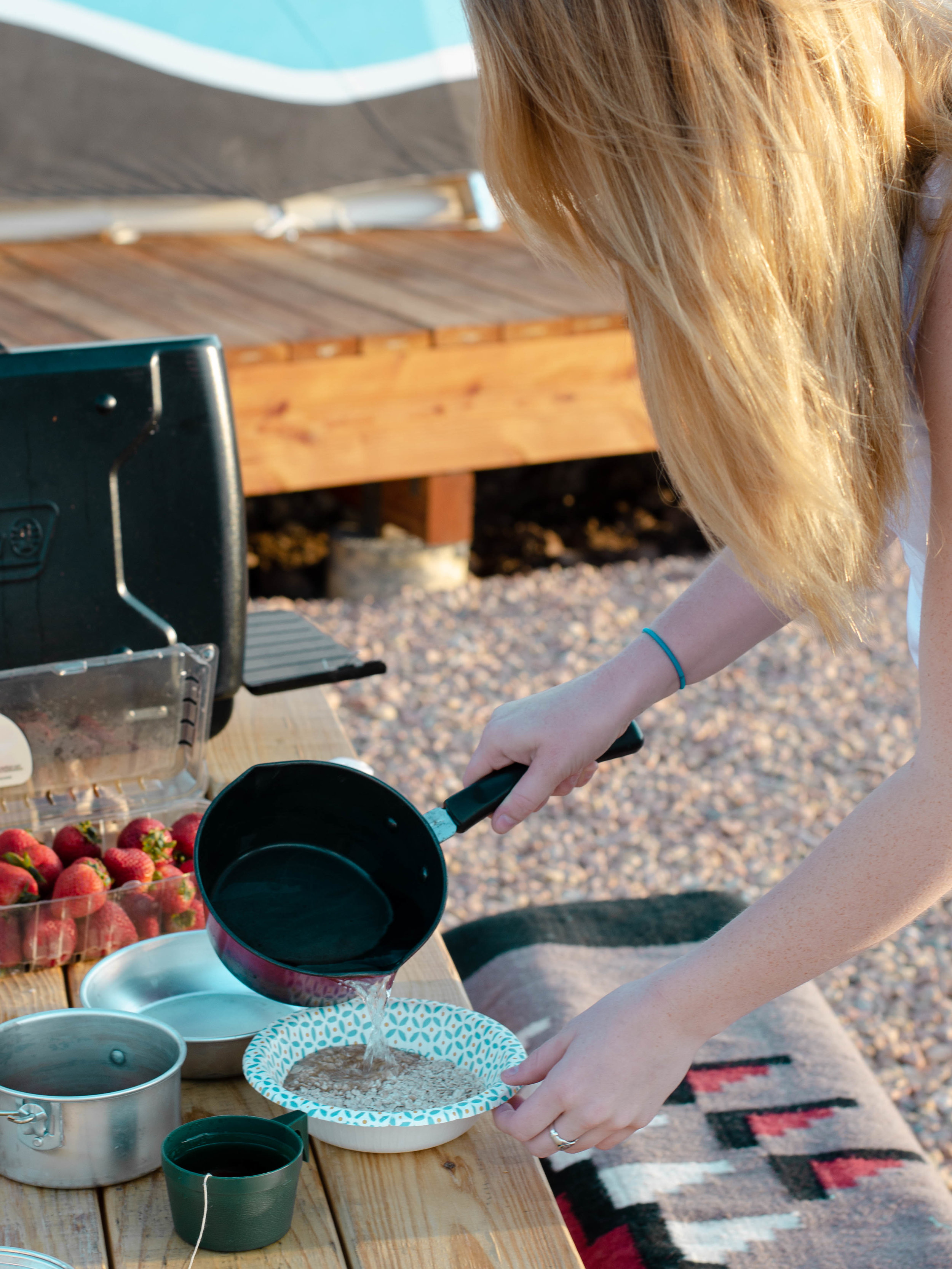 Fixing breakfast outside our tipi near Bryce Canyon