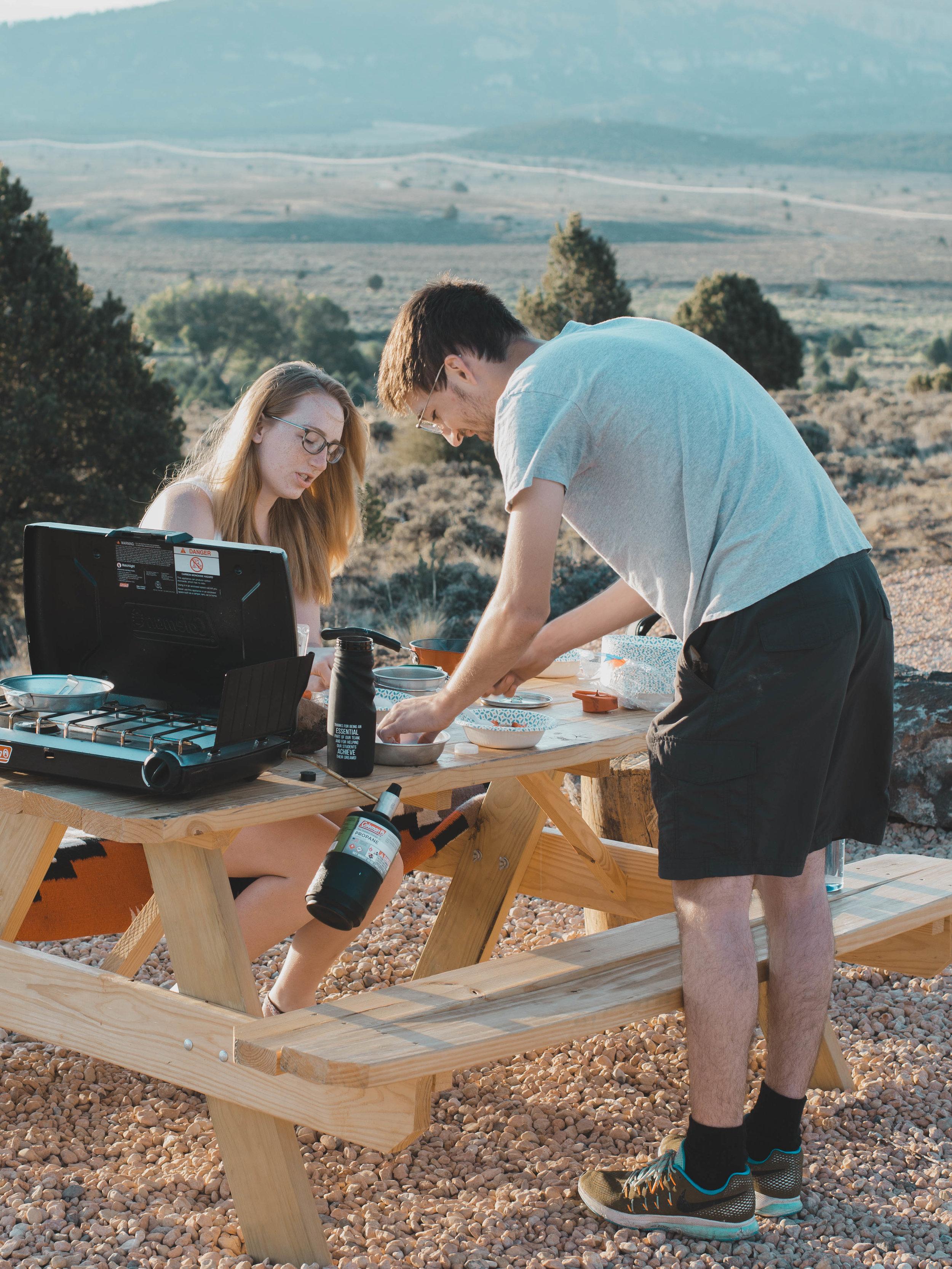 Preparing breakfast outside our tipi in Utah