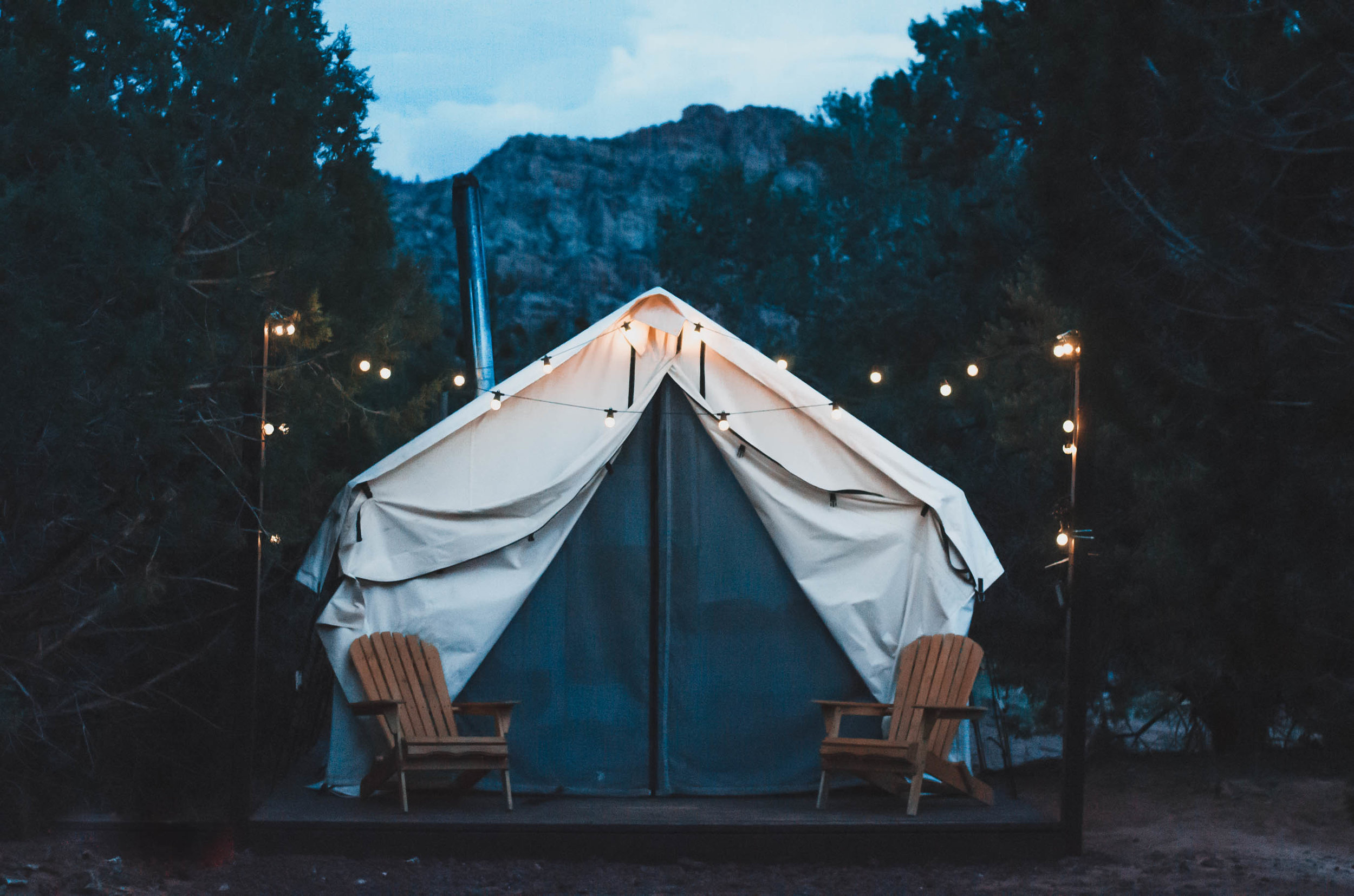 A peaceful night outside our glamping tent near Zion