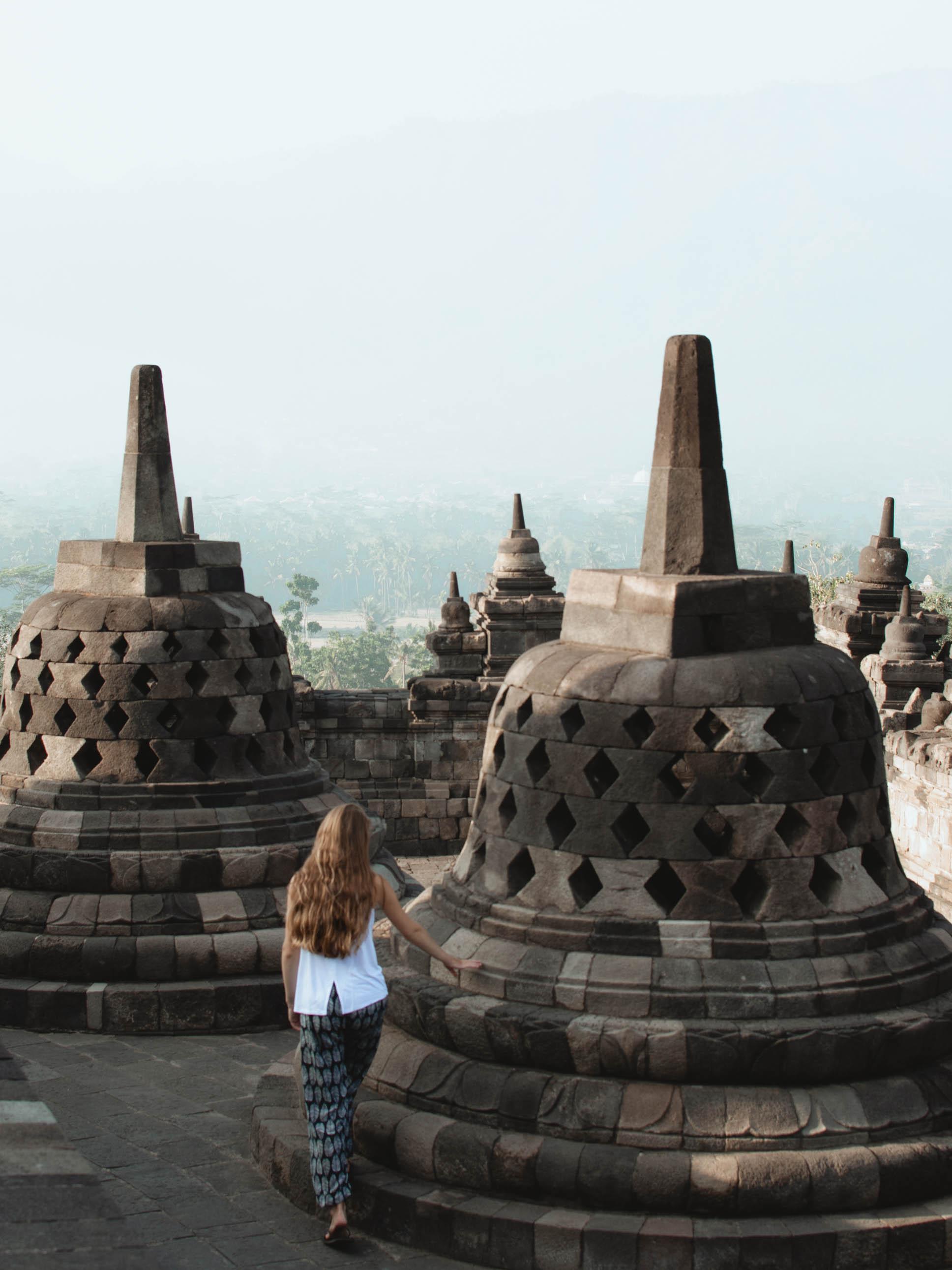Exploring Borobudur temple in Yogyakarta, Indonesia