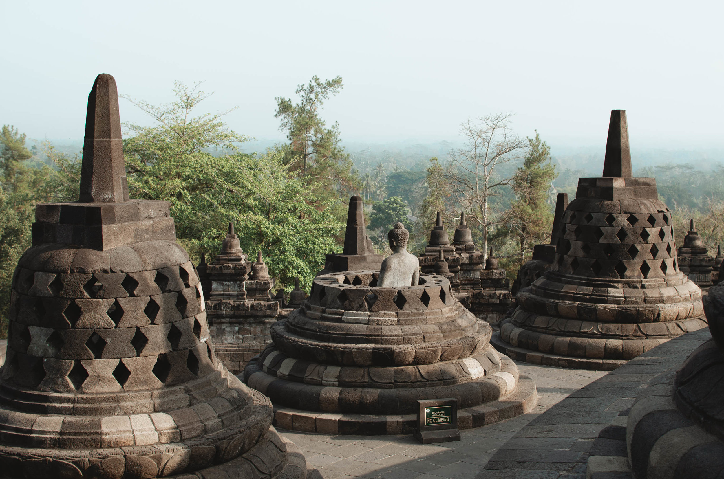 The famous bell-shaped structures and Buddha statues at Borobudur