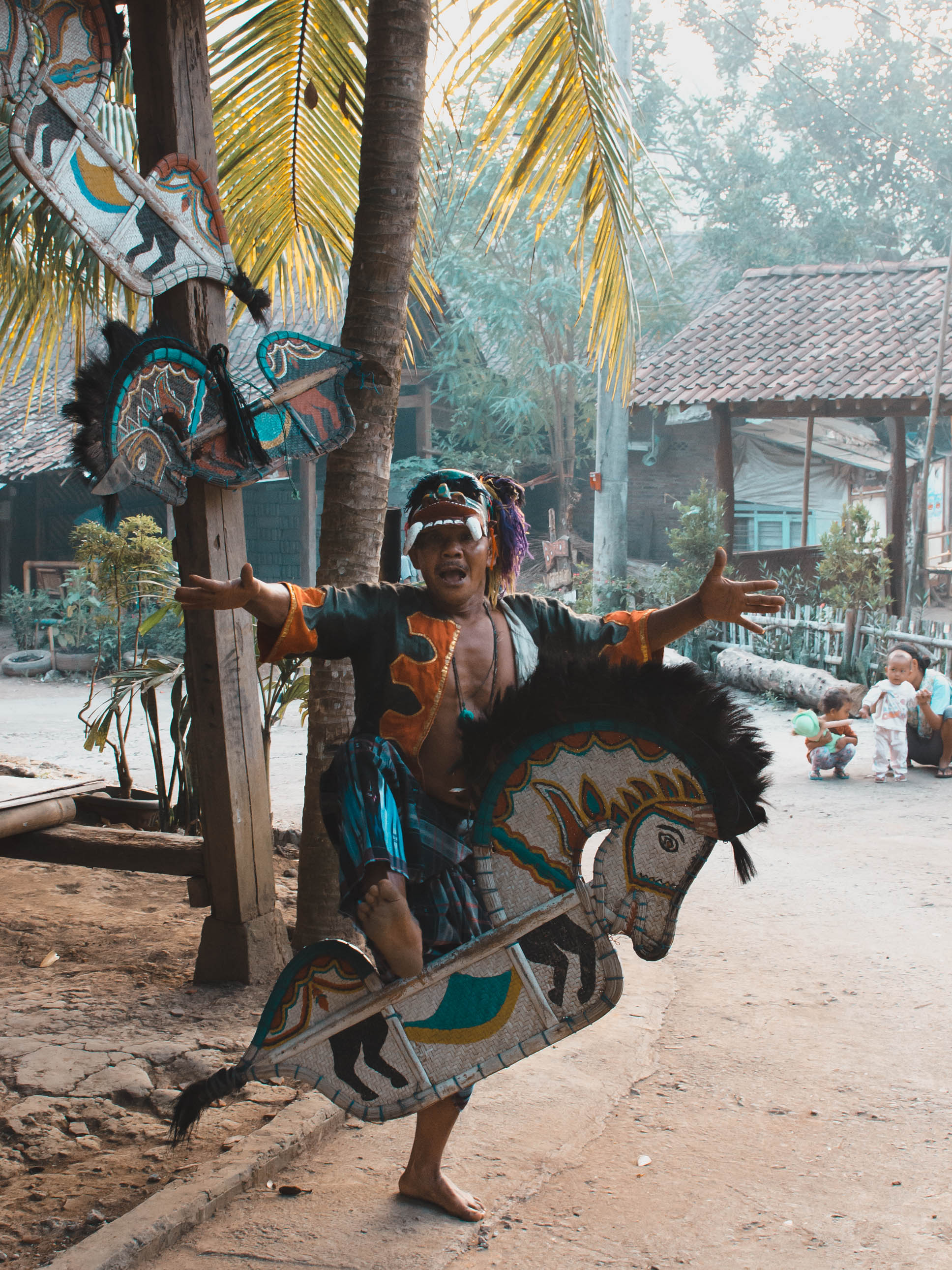 Local Indonesian man in traditional clothes near Borobudur temple