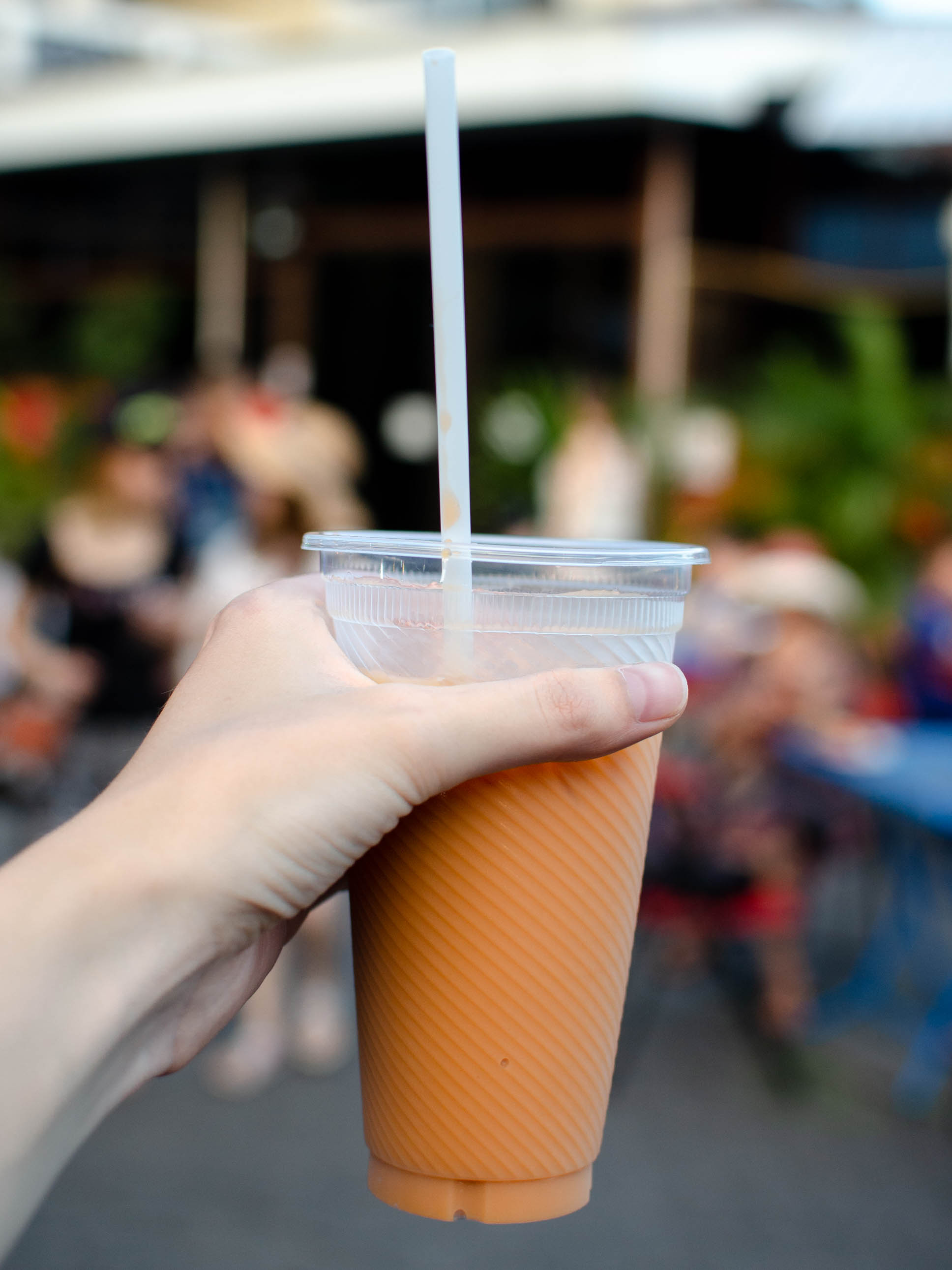 Trying my first Thai tea in Chiang Mai