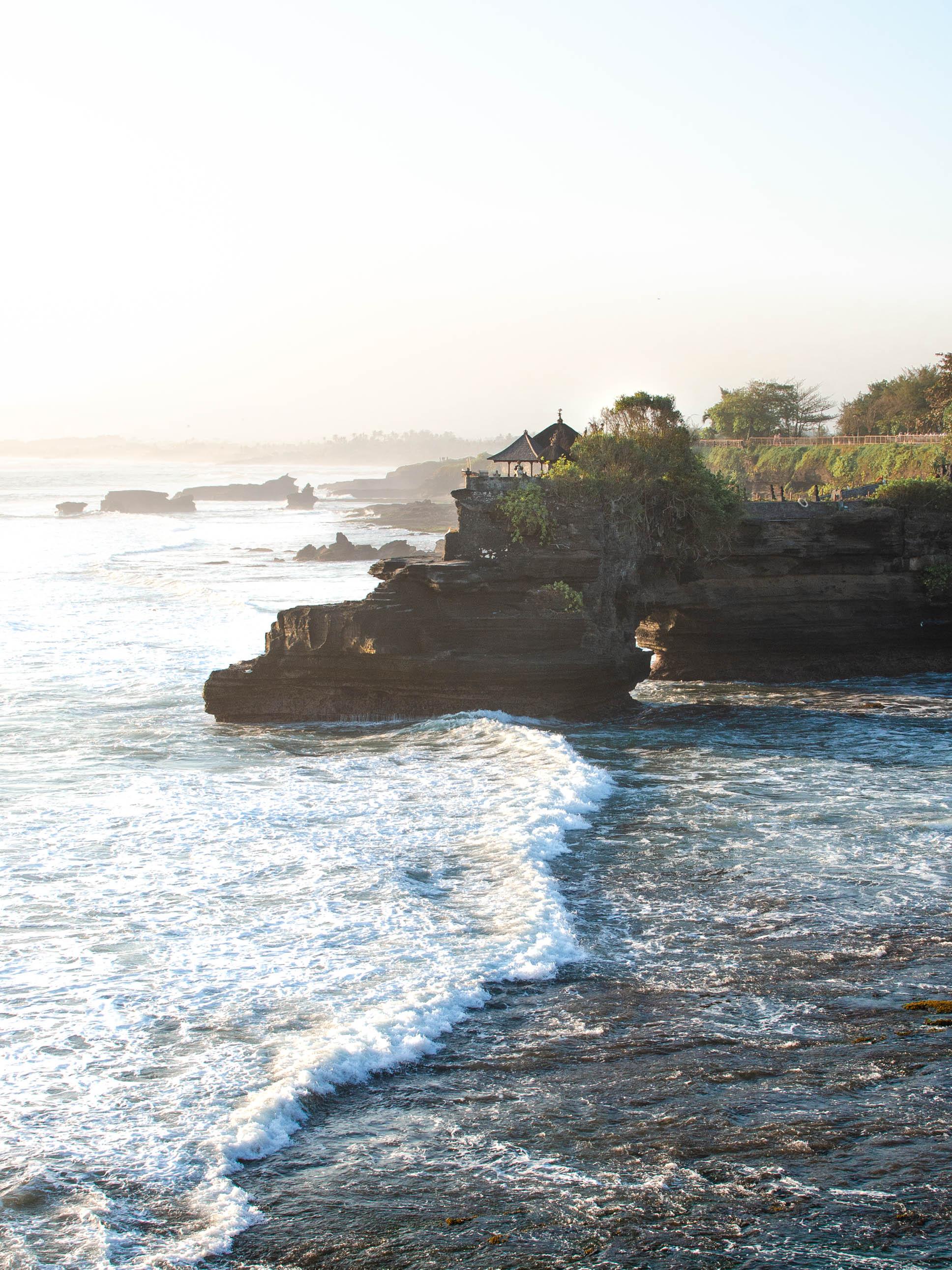Sunset view of Pura Batu Bolong next to Tanah Lot