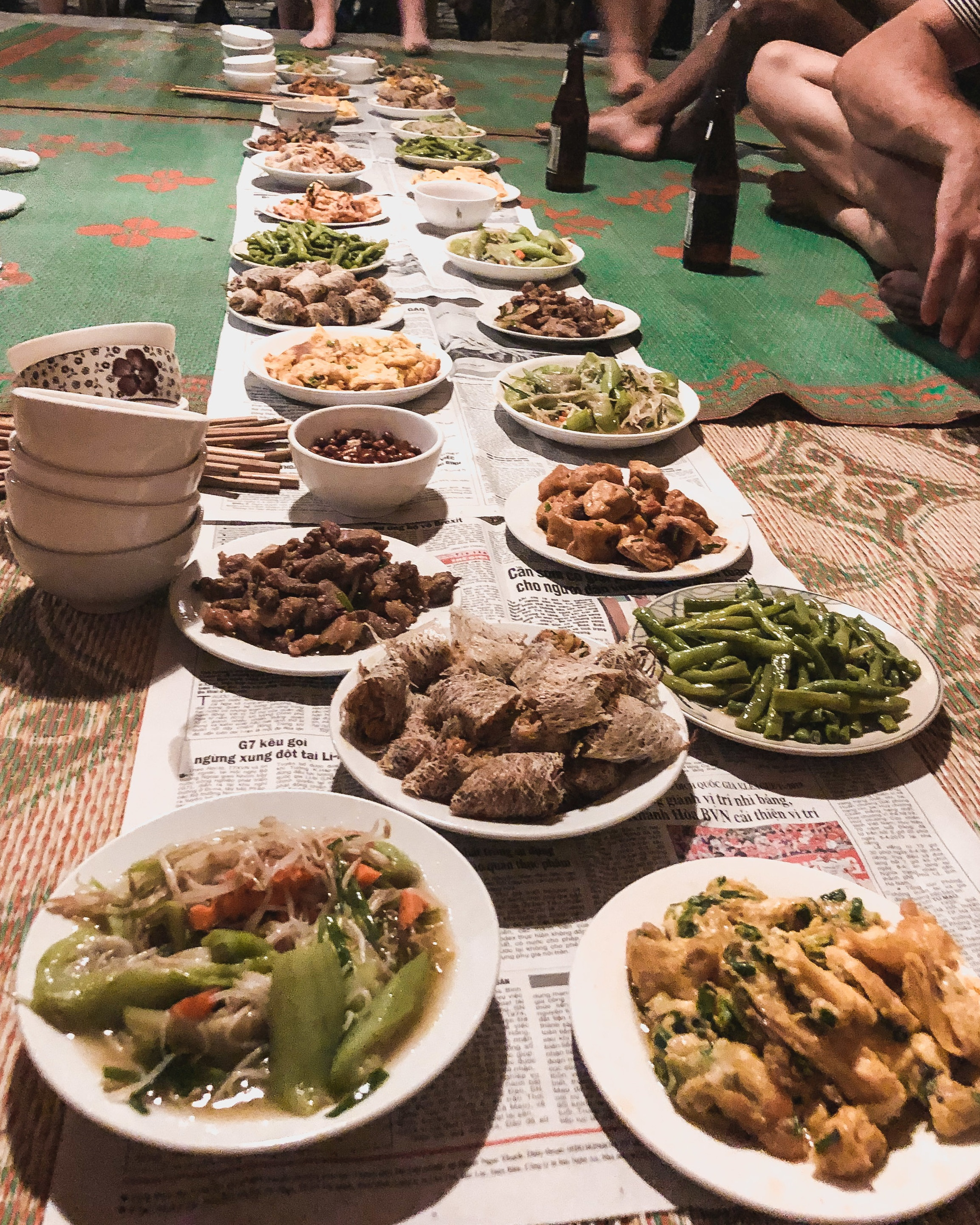 Family dinner at a hostel on the Ha Giang motorbike loop