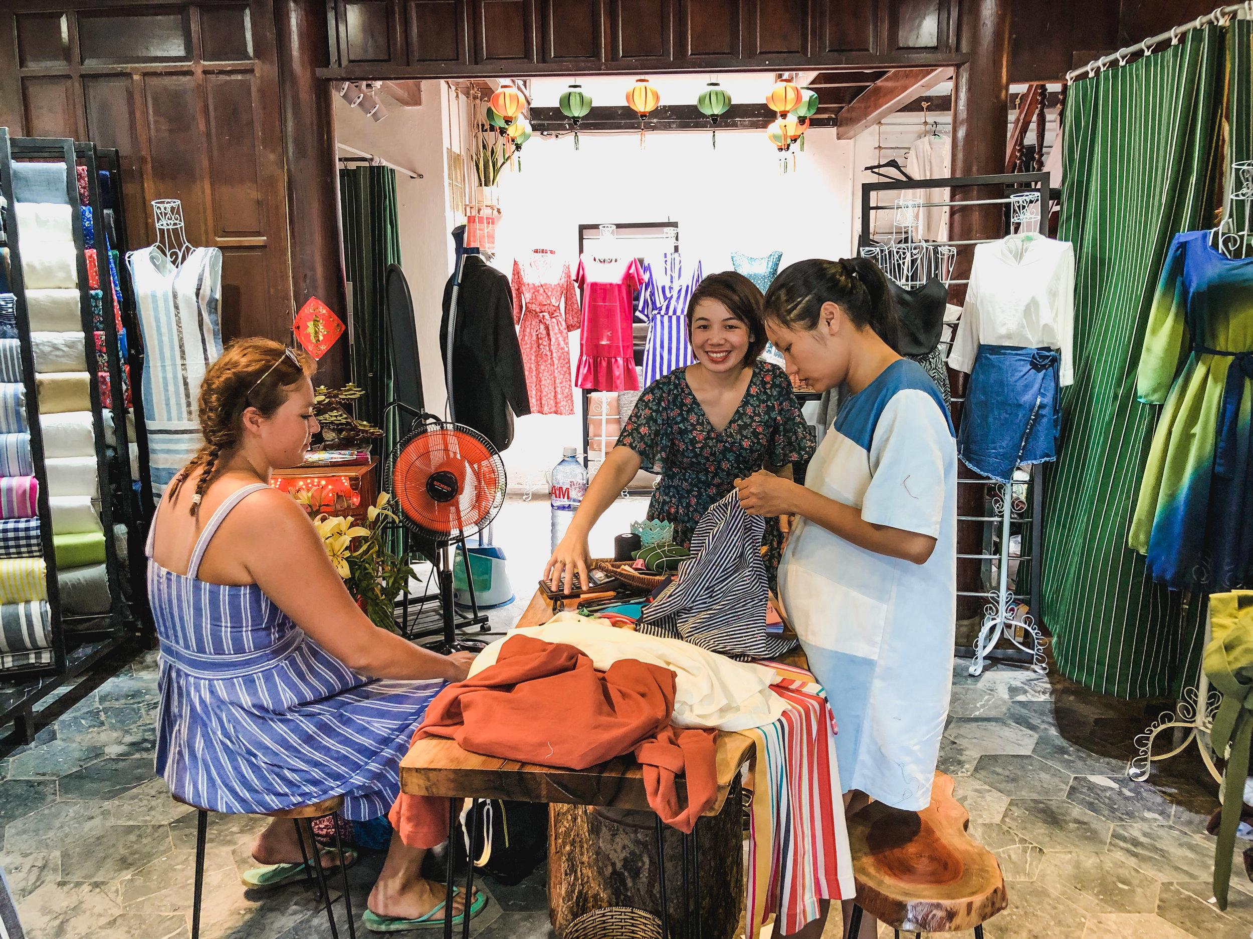 The inside of Gian Don Izi linen tailor shop