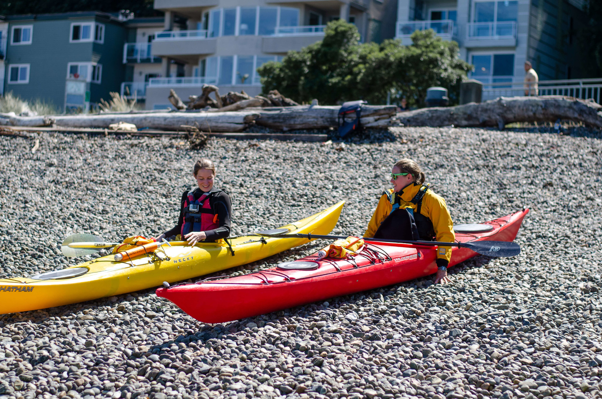 Learning how to sea kayak at Alki Kayak Tours