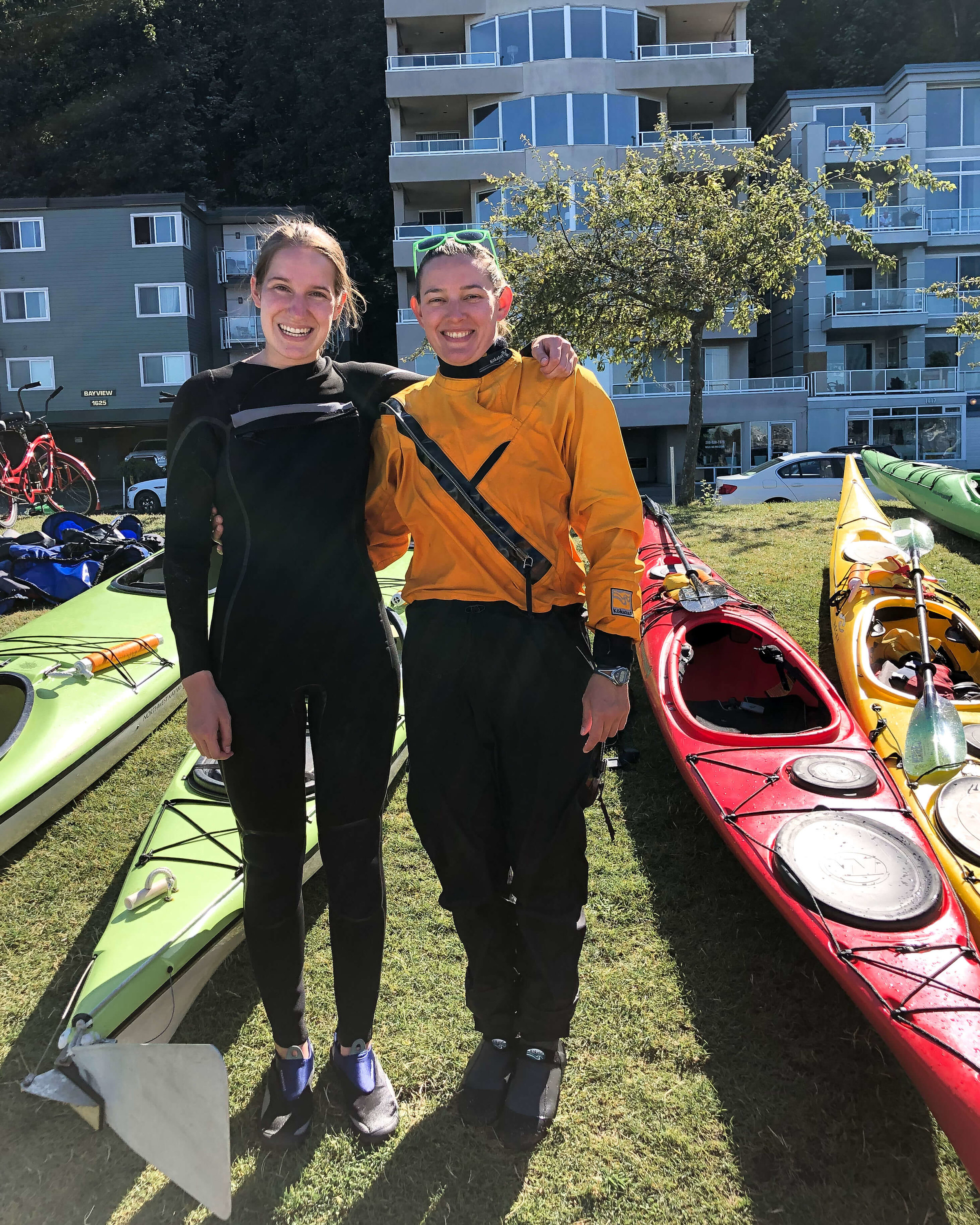 My kayaking instructor and I outside of Alki Kayak Tours