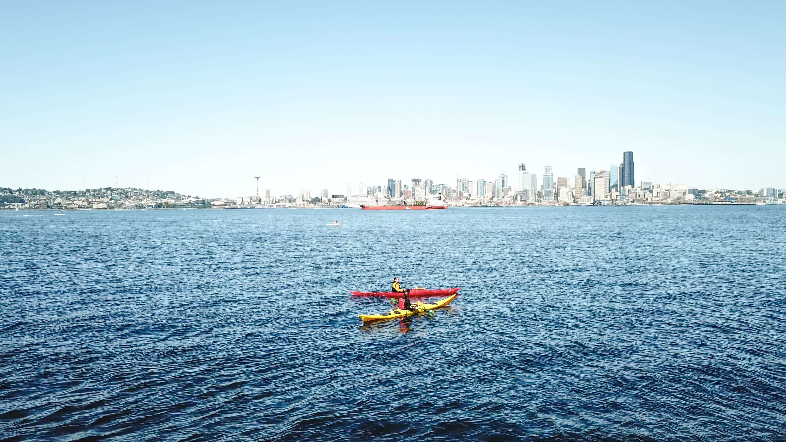 Kayaking by Alki Beach in West Seattle