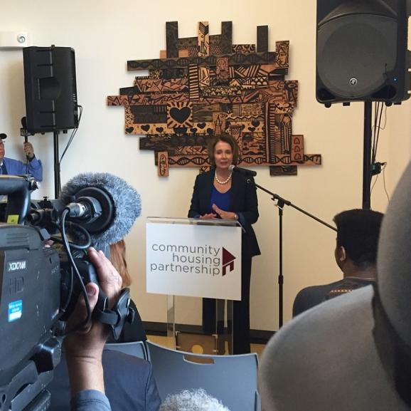 Nancy Pelosi speaking at Community Housing Partnership