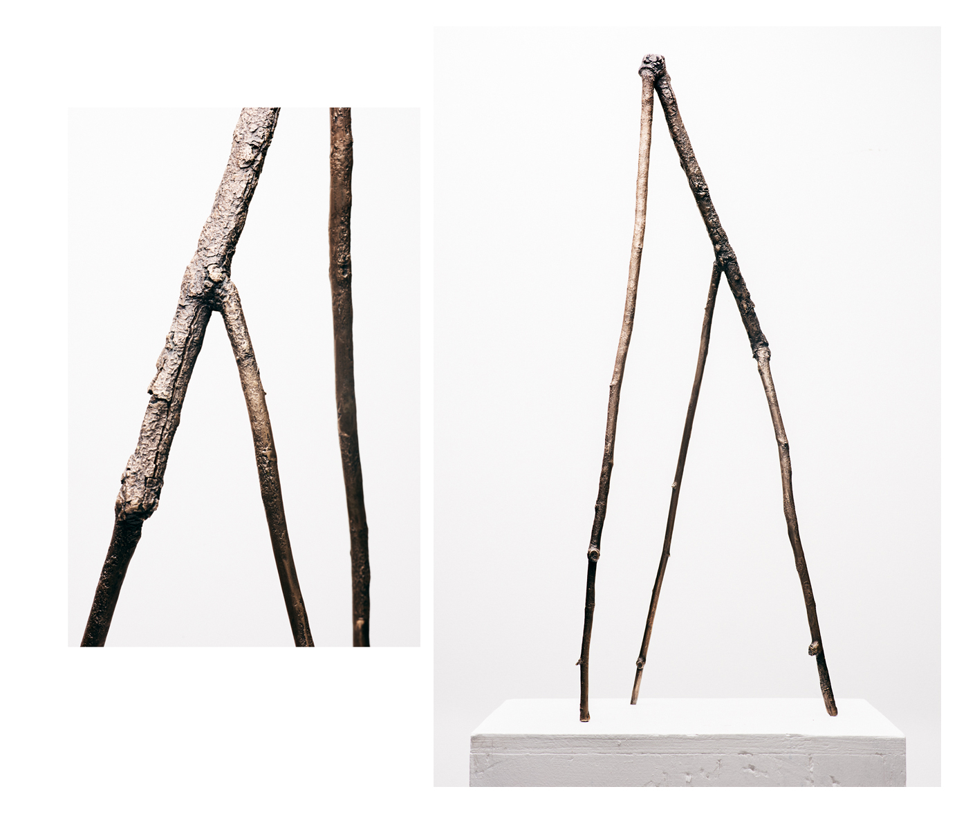 Stick 08, 2019, Bronze with base coat and bees wax, 10x9x27 inches.