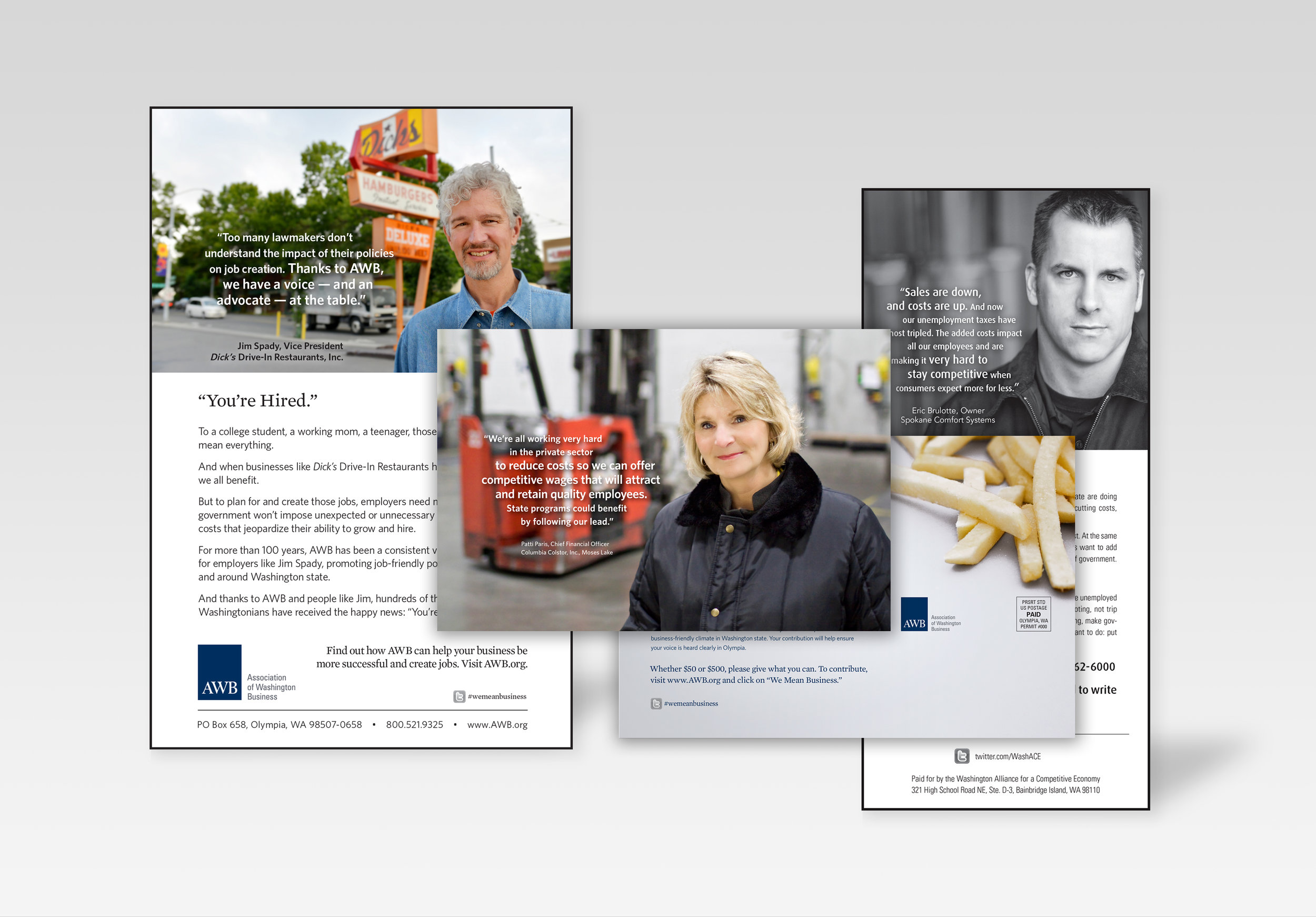 Print advertising + direct mail postcard