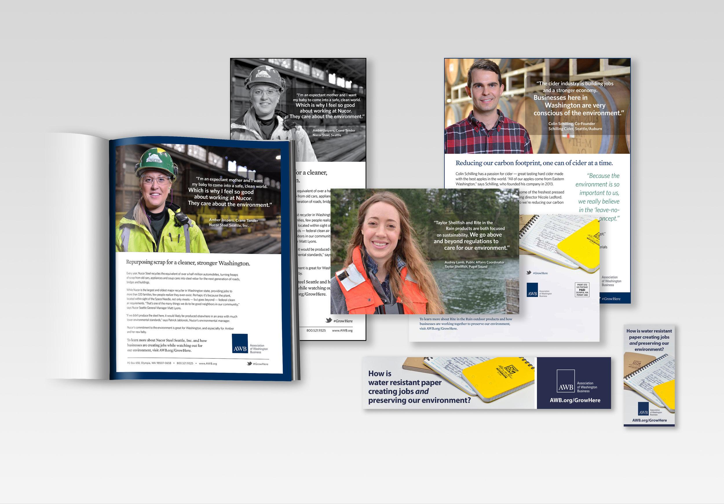 "AWB ""grow here campaign"" various print advertising, postcards, transit + online advertising"