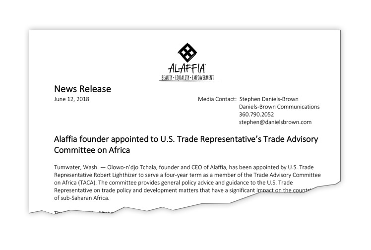 ClIENT: Alaffia Alaffia founder Olowo-n'djo tchala is appointed to serve on the United States Trade Representative's advisory committee on africa.