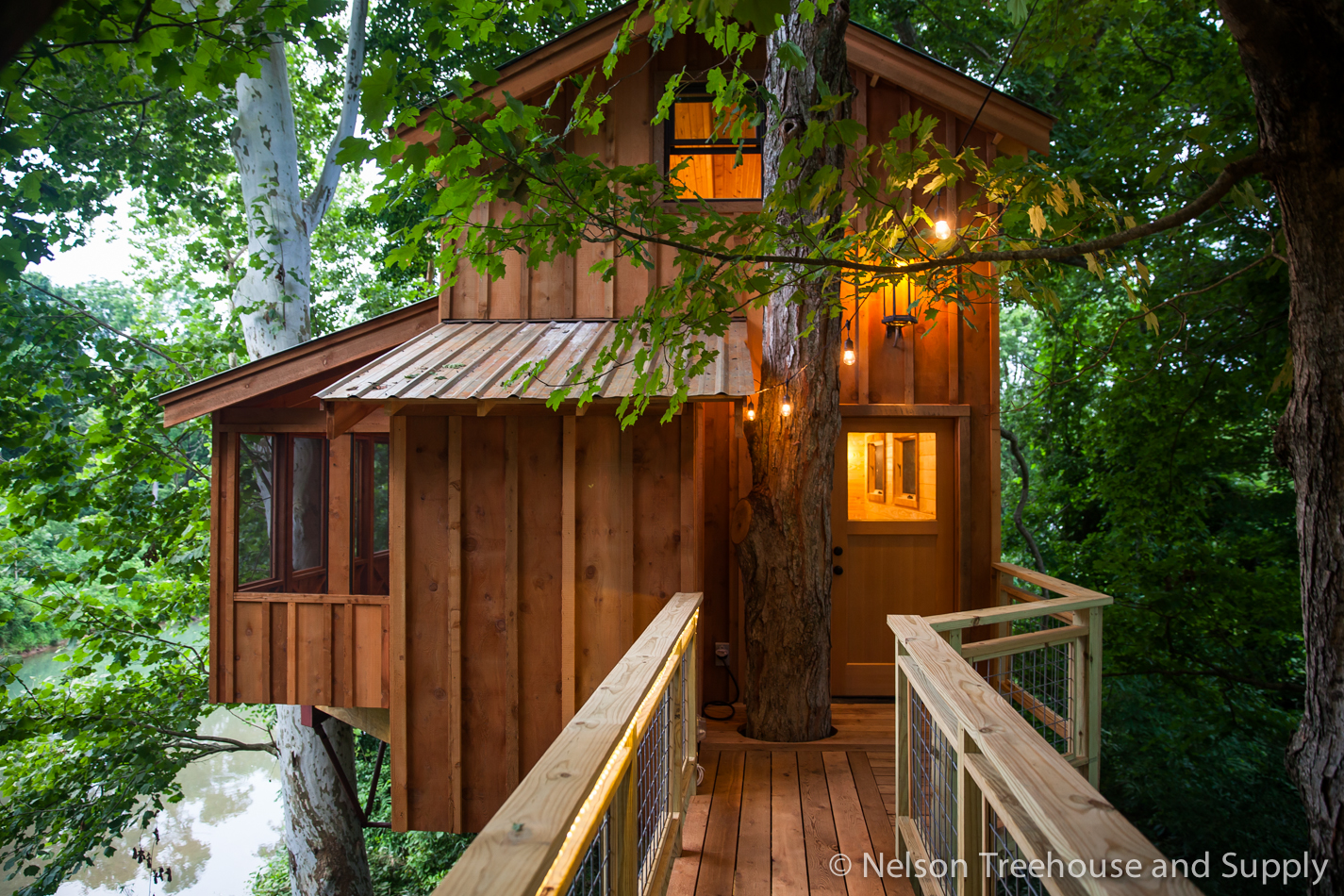 Trees play a leading role in Daryl's treehouse designs, as in this treehouse in Tennessee.