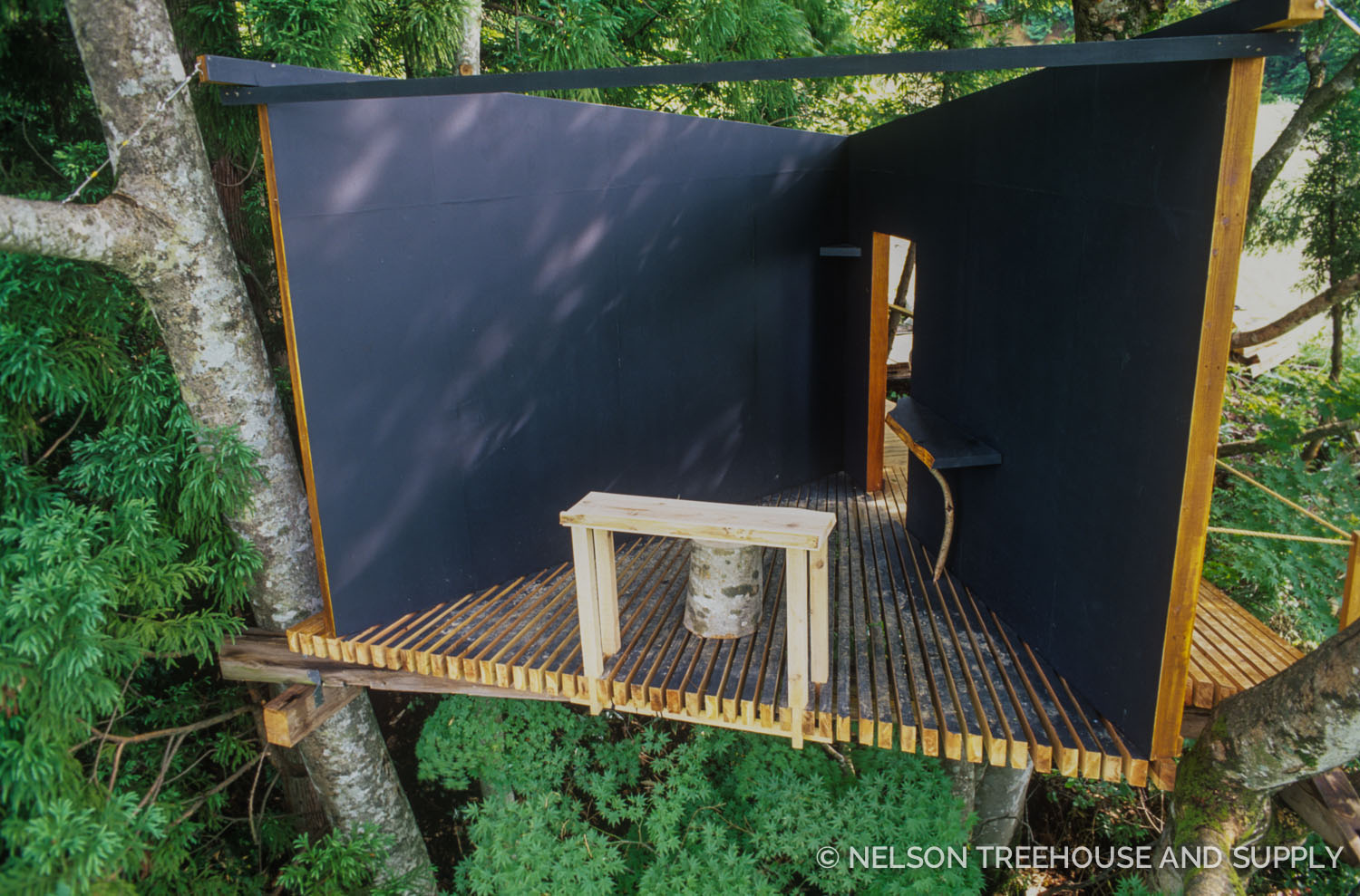This treehouse in Japan, built by Taka Kobayashi,exemplifies the pared-down, outdoorsy quality of the treehouse life.