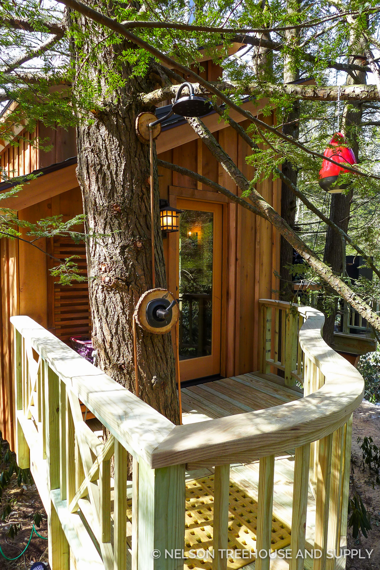 This treehouse in Pennsylvania also included an outdoor shower. It's much more simple than lugging gallons of water up to the treehouse!