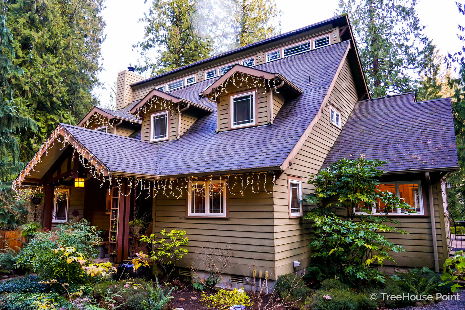 Icicle lights add festive flare to the facade of the Lodge.