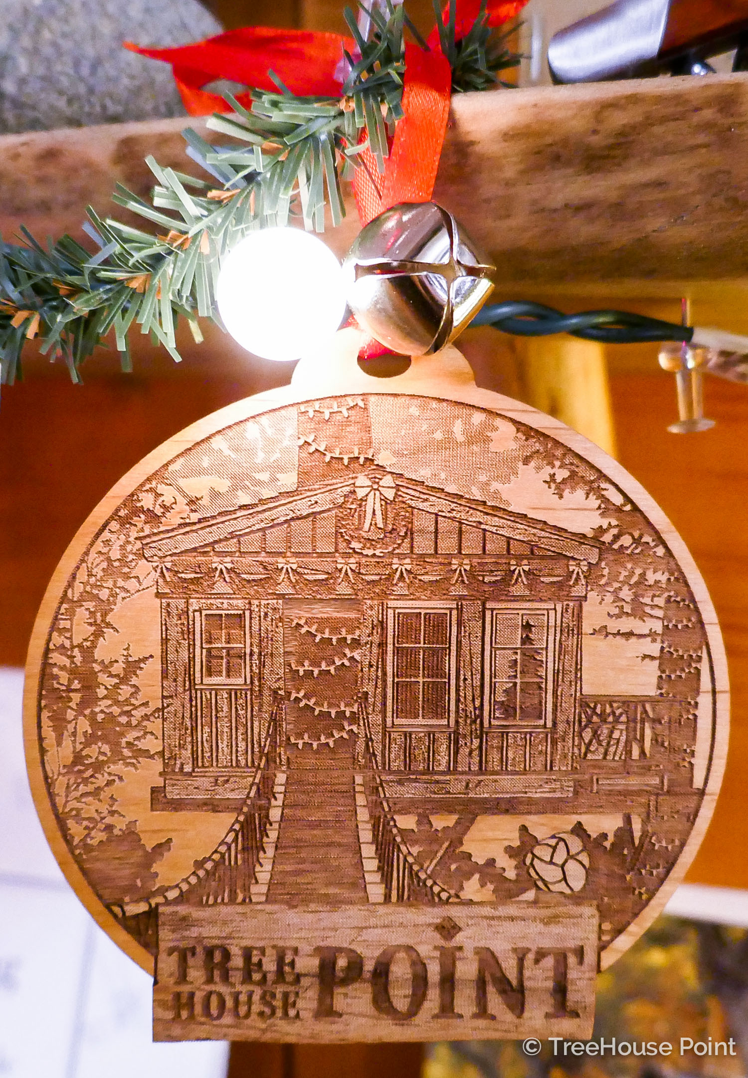 A  TreeHouse Point ornament  looks right at home in the Lodge.