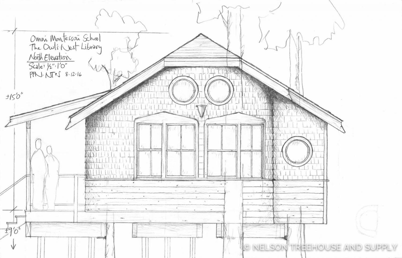 Pete Nelson Sketch Owl's Nest Treehouse