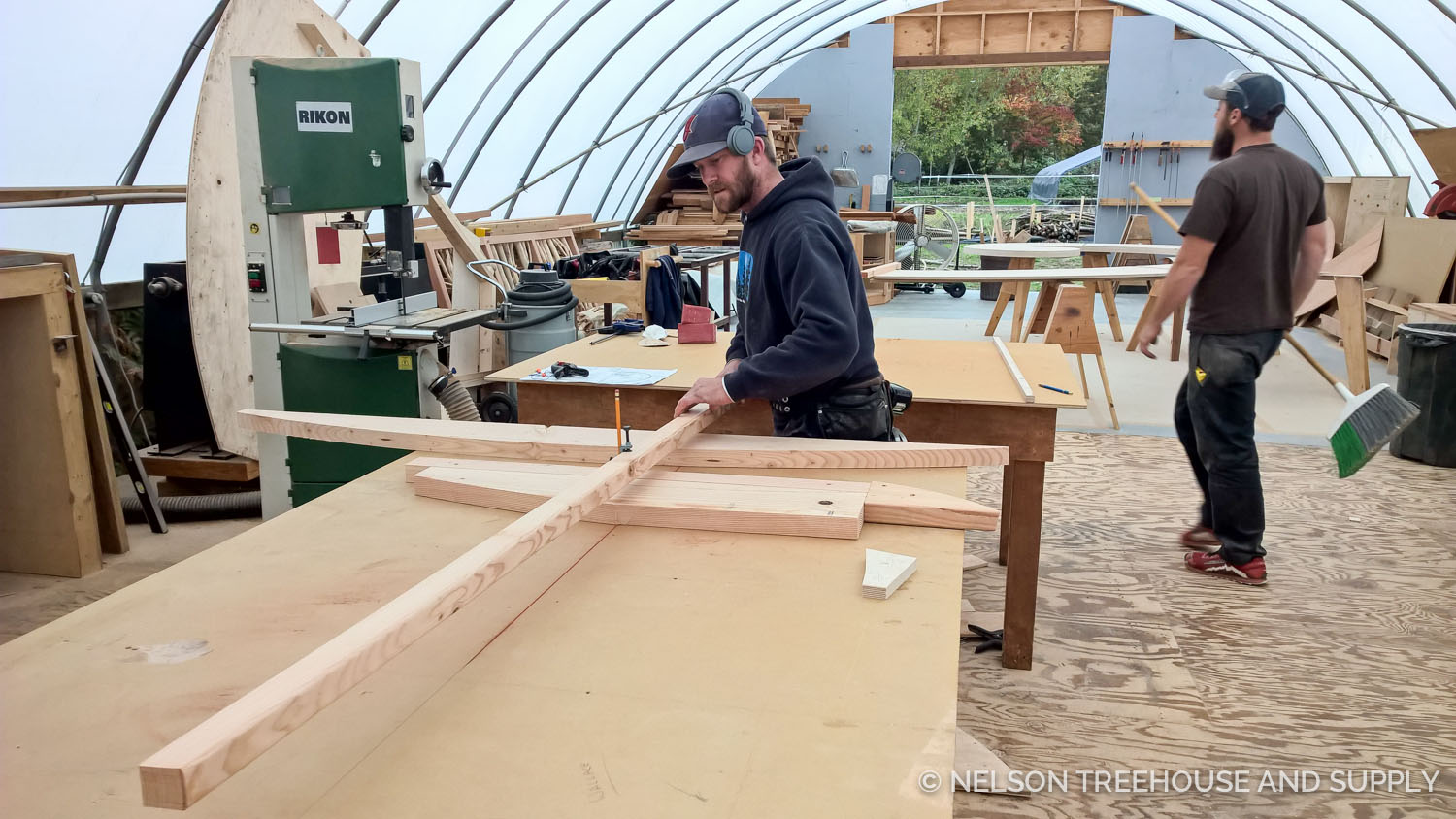 Patrick creating curved trim for the outside of the walls