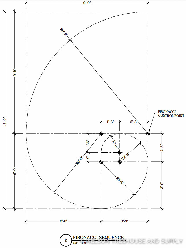 Construction drawing for the fibonacci bench
