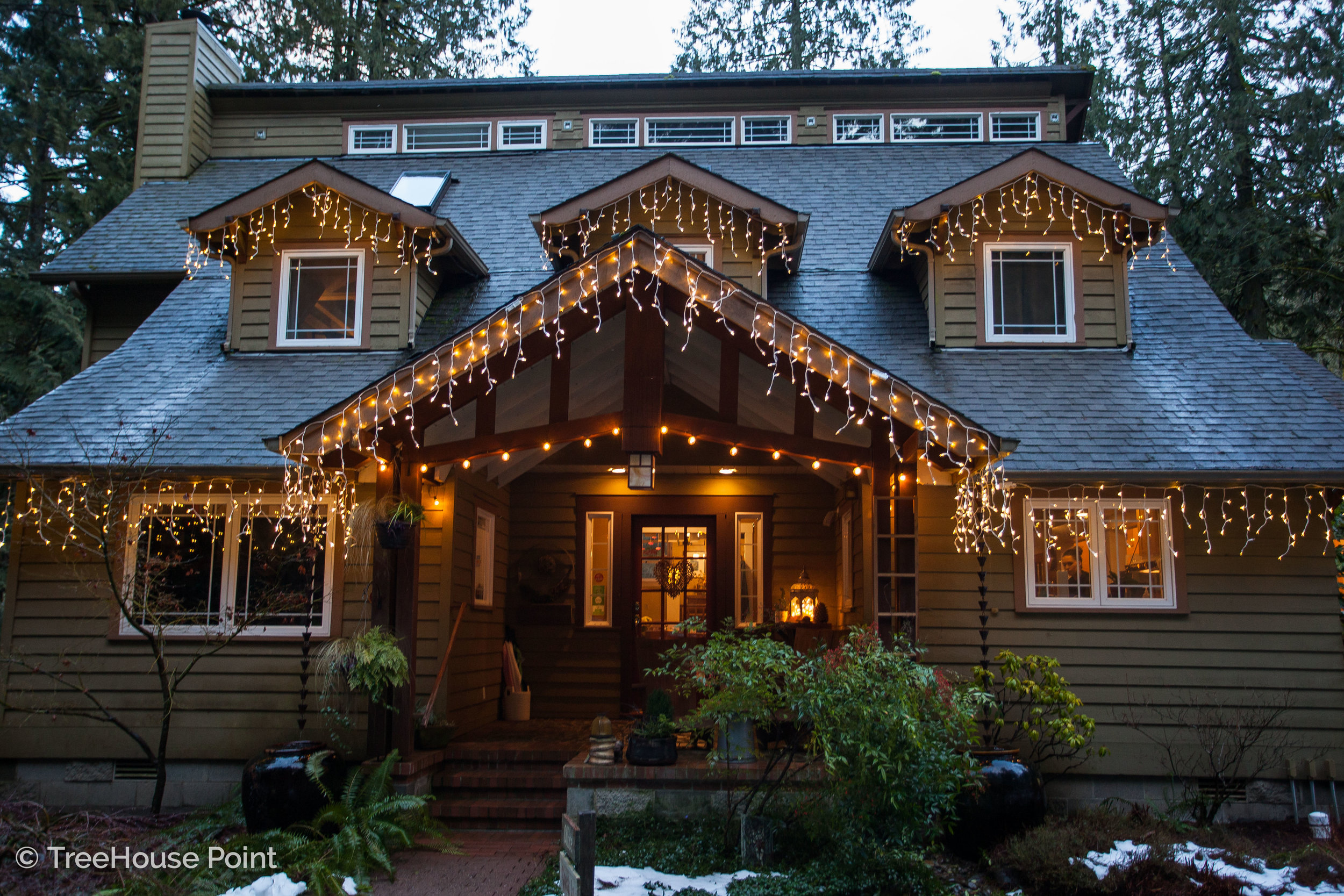 Fairy lights sparkle on the Lodge at TreeHouse Point.