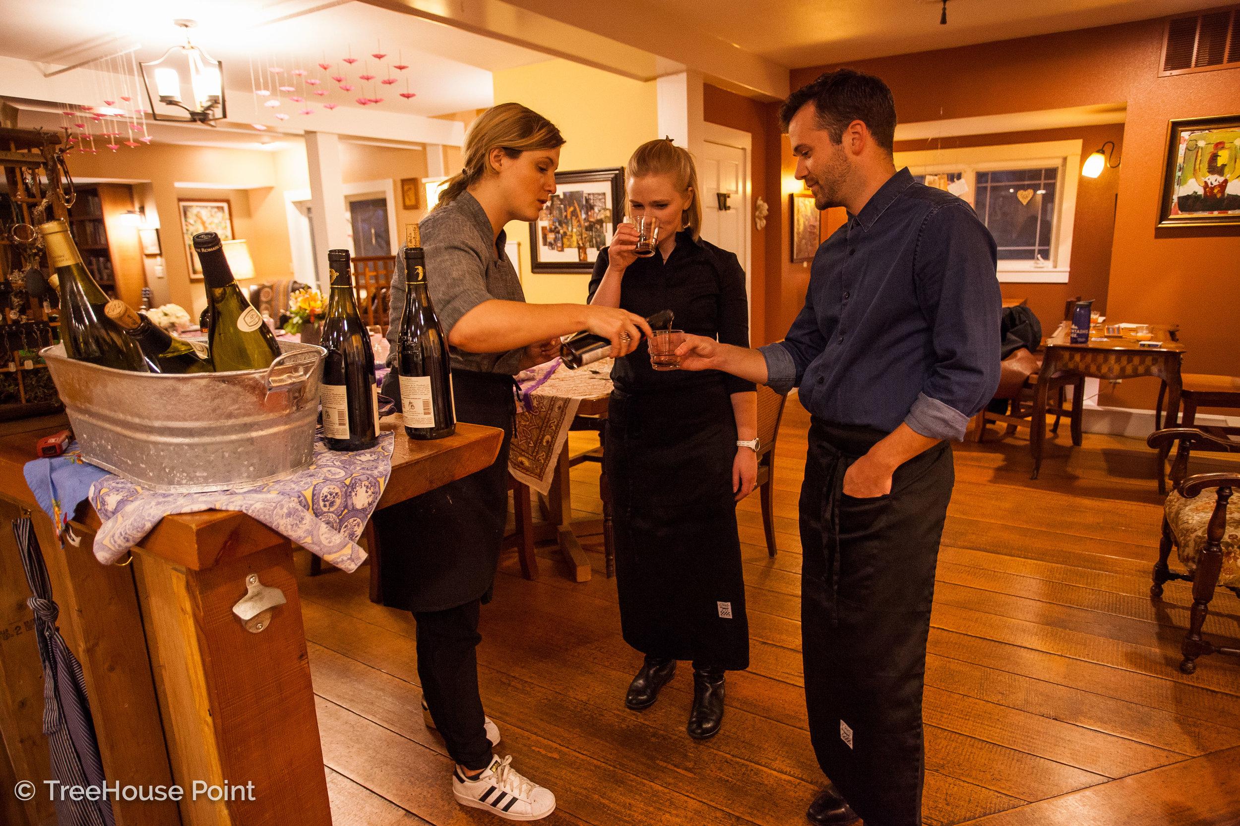 sampling wine Pairings for the menu.