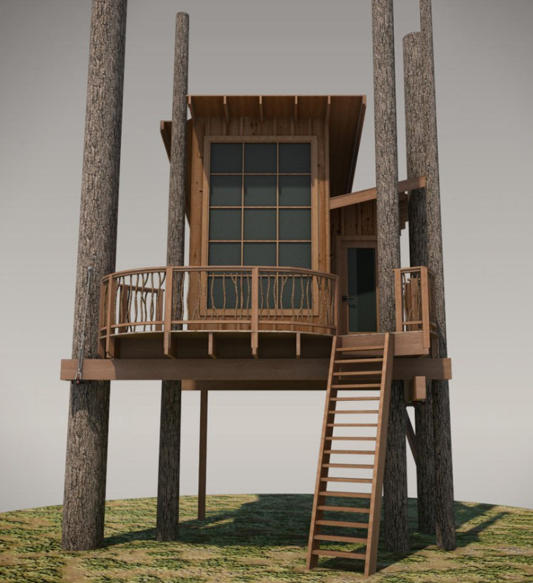 Keith used our Stehekin Large design to build his stunning treehouse.