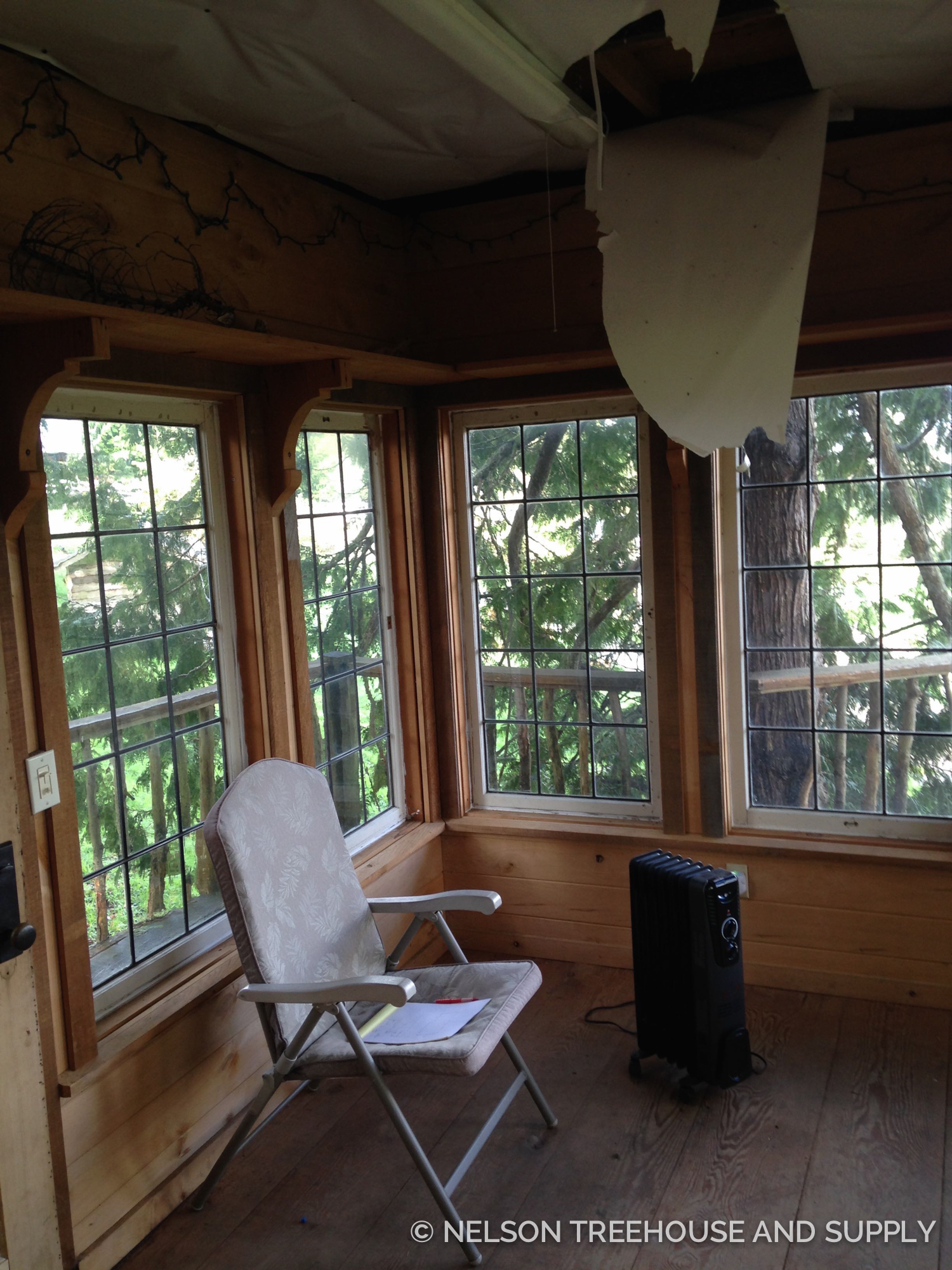 Insulation was falling from the ceiling before Pete and the crew tackled the remodel.