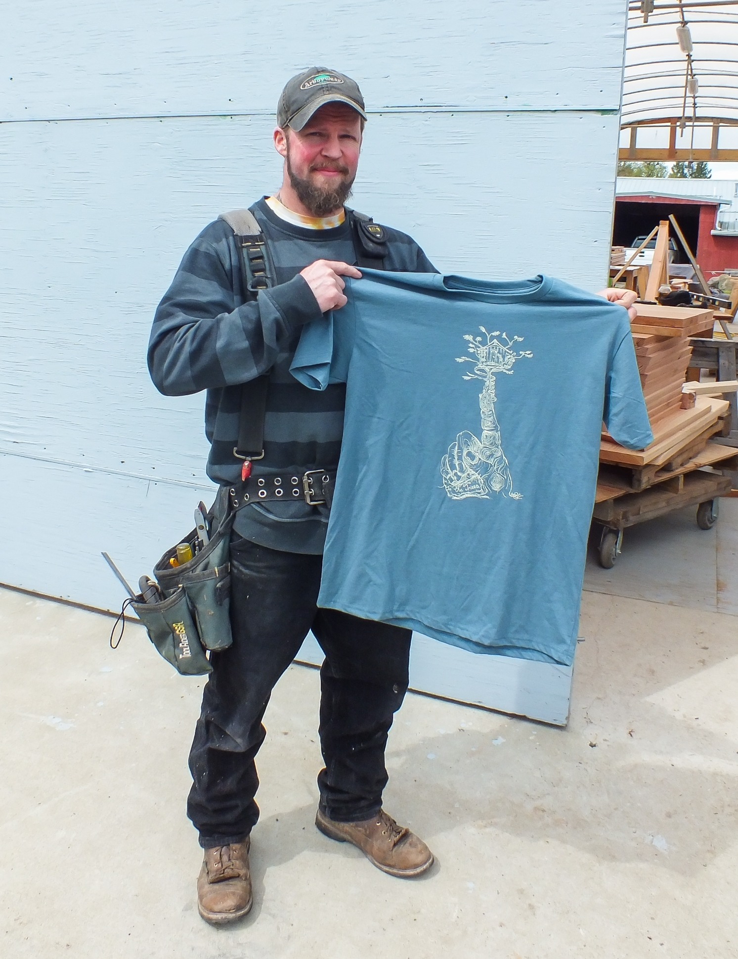 Rolf with the  new Be in a Tree T-Shirt  featuring his artwork.