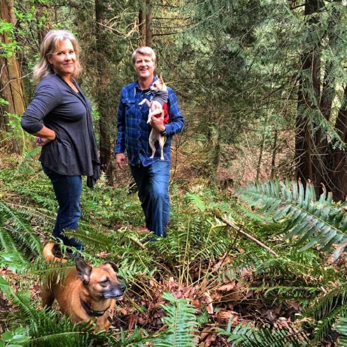 Bun and Frida traversing New frontiers at Treehouse Resort and Spa with Judy and Pete.