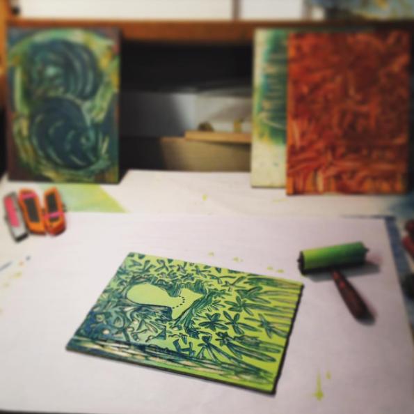 charlie making prints.Photo courtesy of Charlie Spitzack.