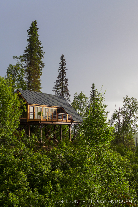 ALASKAN MOUNTAIN TREEHOUSE     CLICK FOR PHOTO TOUR >>     Location:  Mt. McKinley Princess Wilderness Lodge, Alaska  Year Built:  2017  Square Feet:  732  Elevation:  16 ft ADA-compliant bridge Combination tree- and steel post-supported  Seasonality:  Three-season